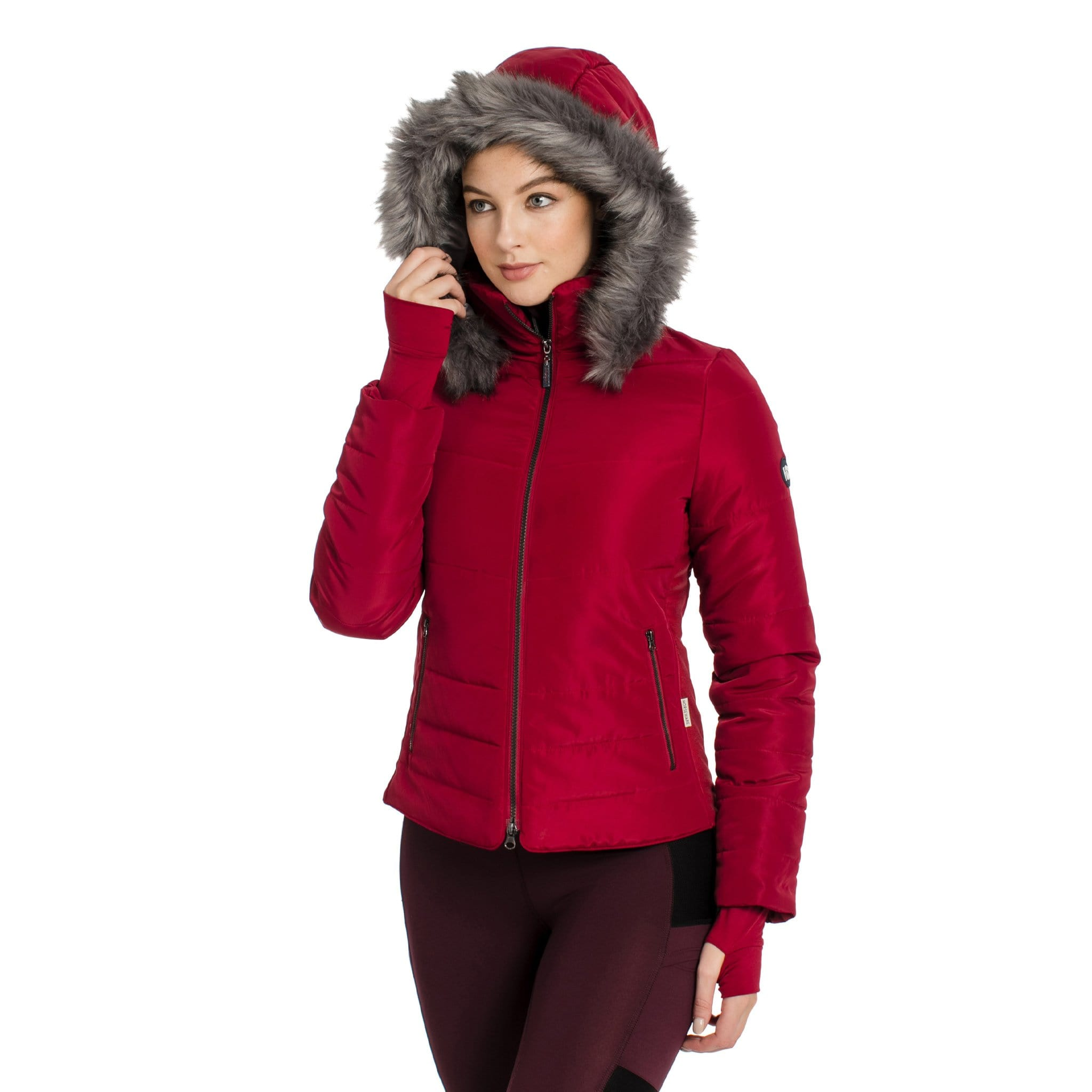 Horseware Alexa Padded Jacket CENETH Rio Red On Model Front View With Hood Up