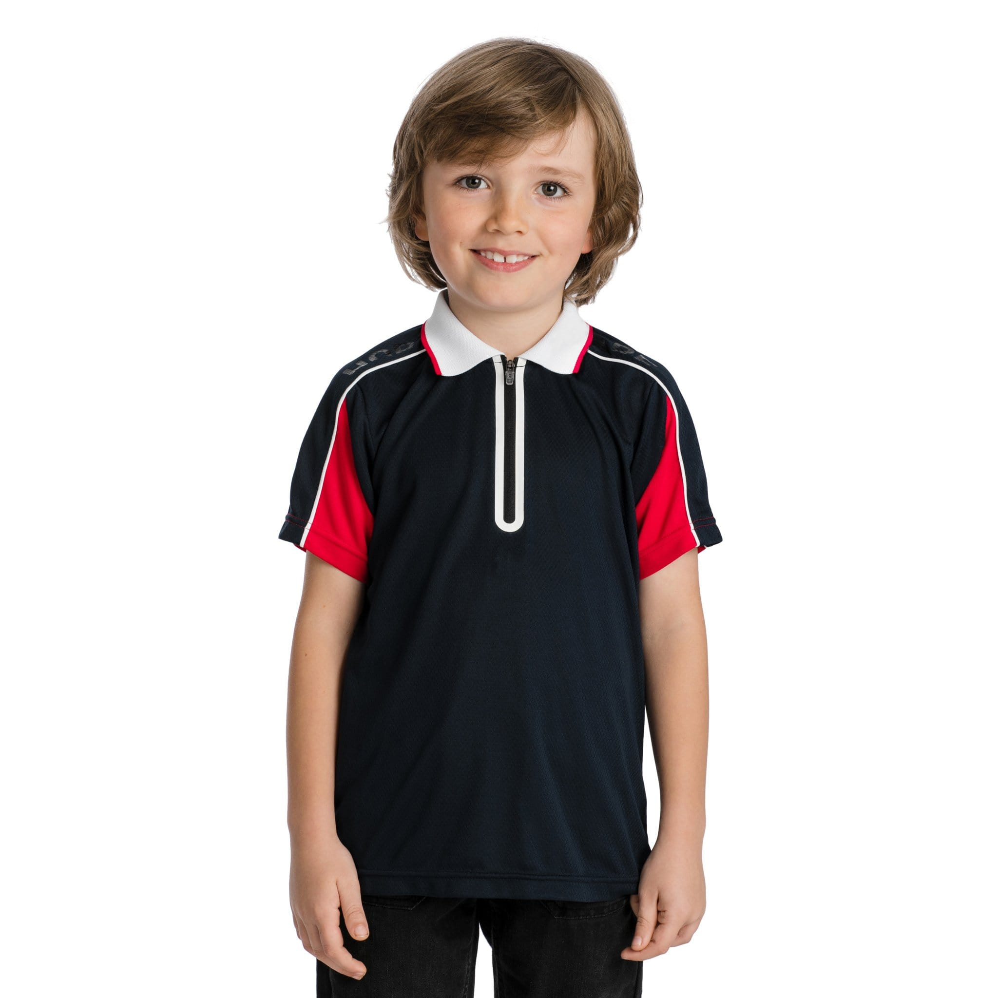 Horseware Boy's Technical Polo Shirt CJHPH9 Navy and Red Front