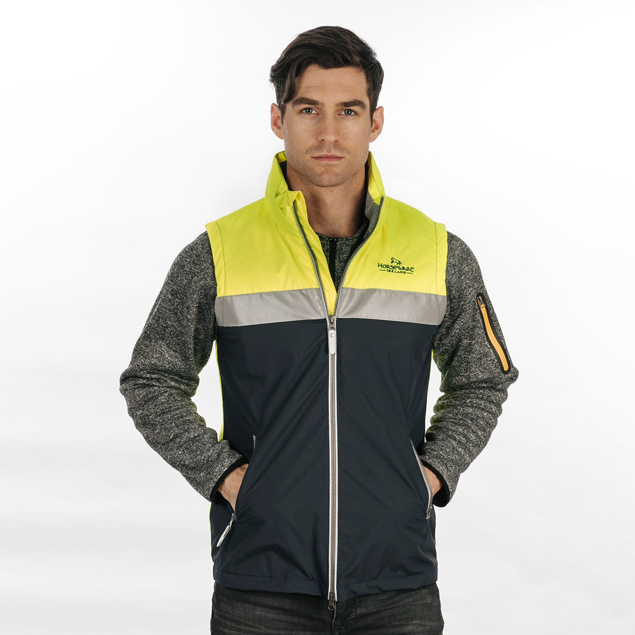 Horseware Corrib Neon Gilet CBHV02 On Male Model Front