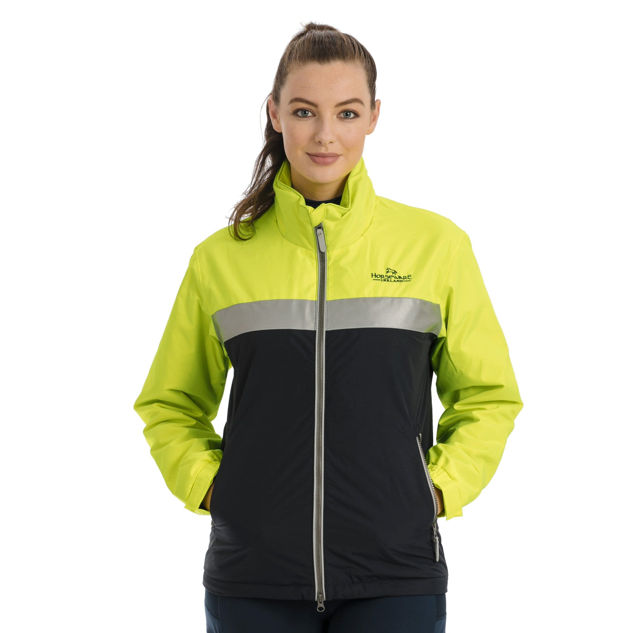 Horseware Corrib Neon Jacket CBHC02 On Female Model Front Hands In Pockets