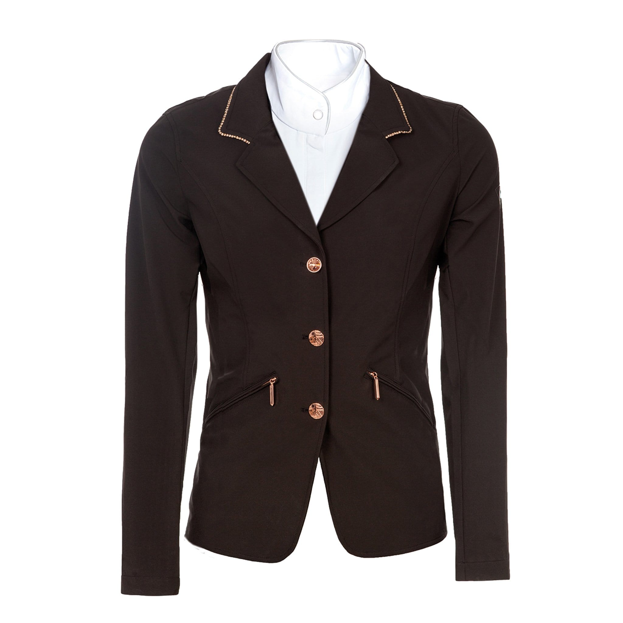Horseware Embellished Competition Jacket CCBODZ Black With Rose Gold Trim Front Studio