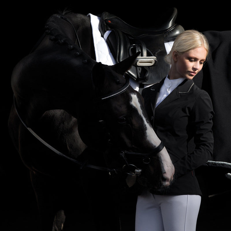 Horseware Embellished Competition Jacket CCBODZ Black With Silver Trim Front Studio
