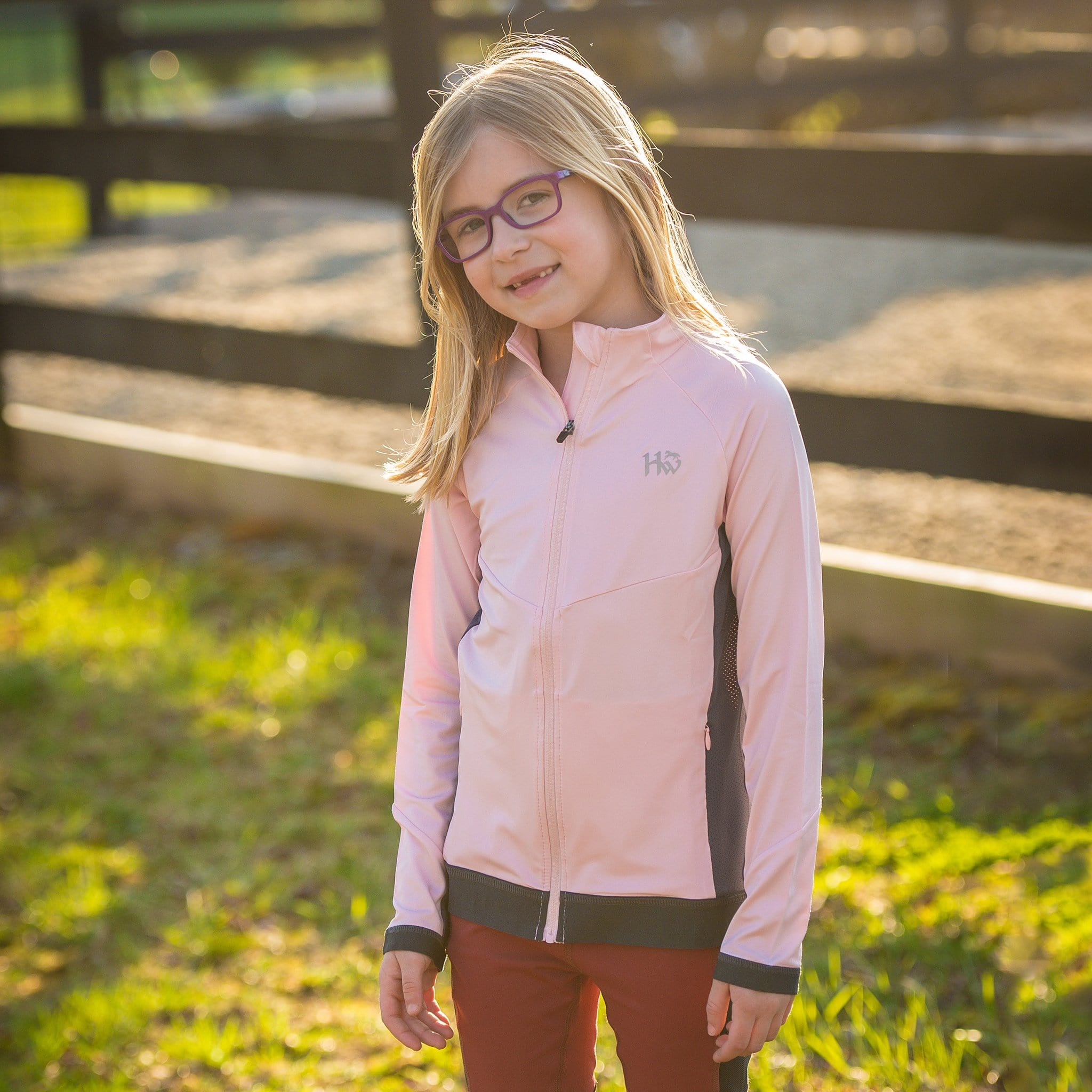 Horseware Girl's Lana Technical Full Zip Top CJHQPH Pink and Grey On Child