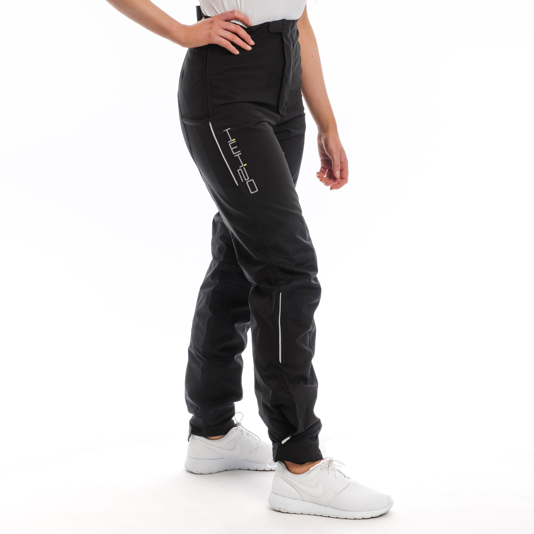 Horseware HWH2O Unisex Waterproof Trousers CLHTHI Black On Female Model Side View