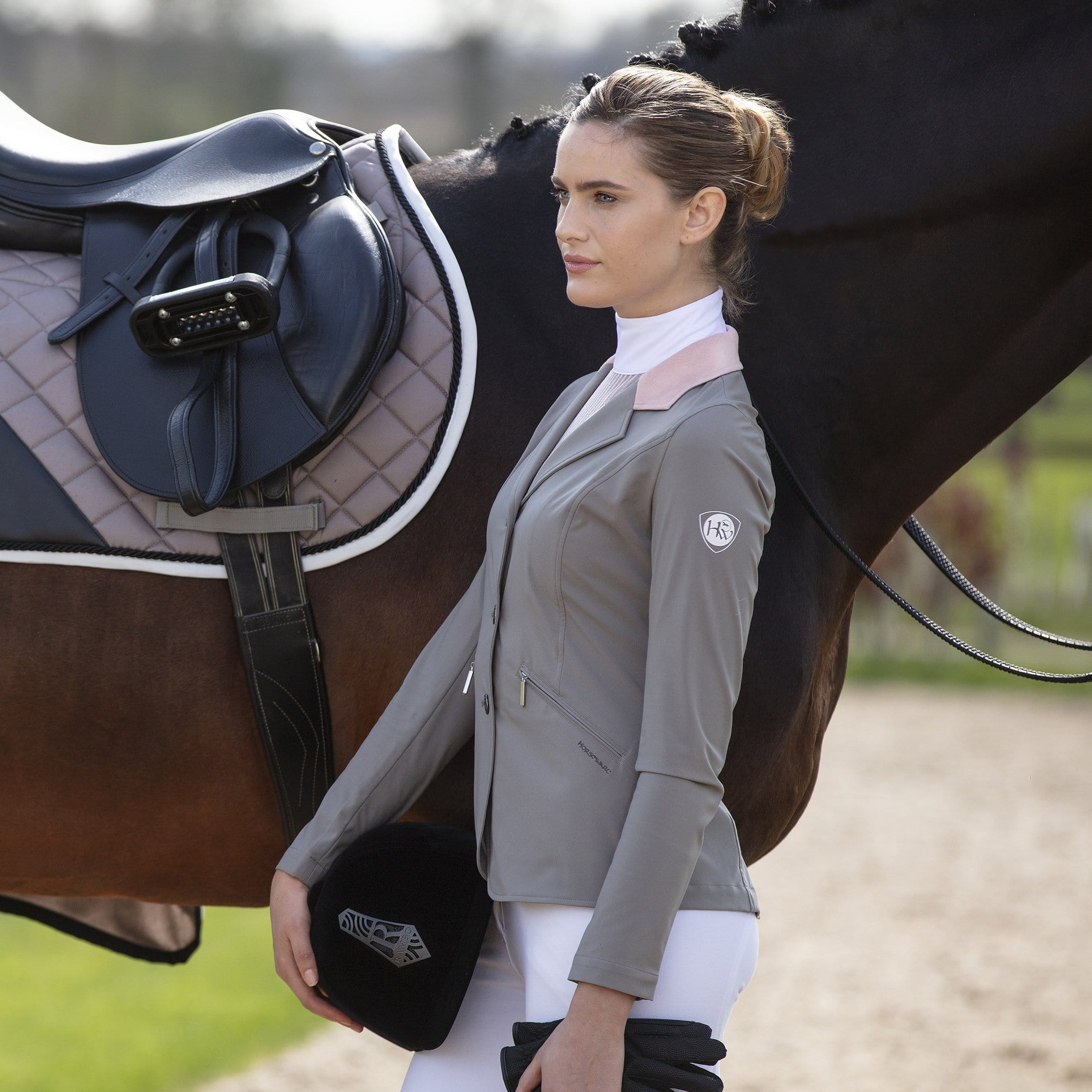 Horseware Competition Jacket CCBODP Taupe On Model By Horse Side