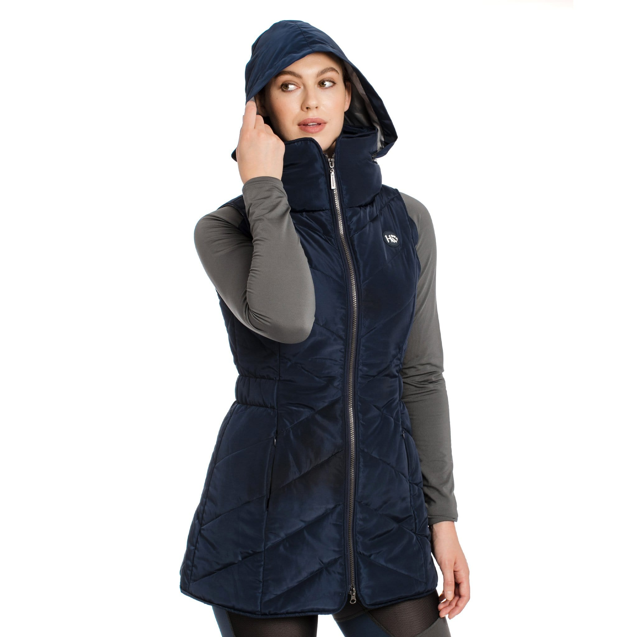 Horseware Longline Padded Gilet CENEVL Navy On Model Front View With Hood and Zip Up