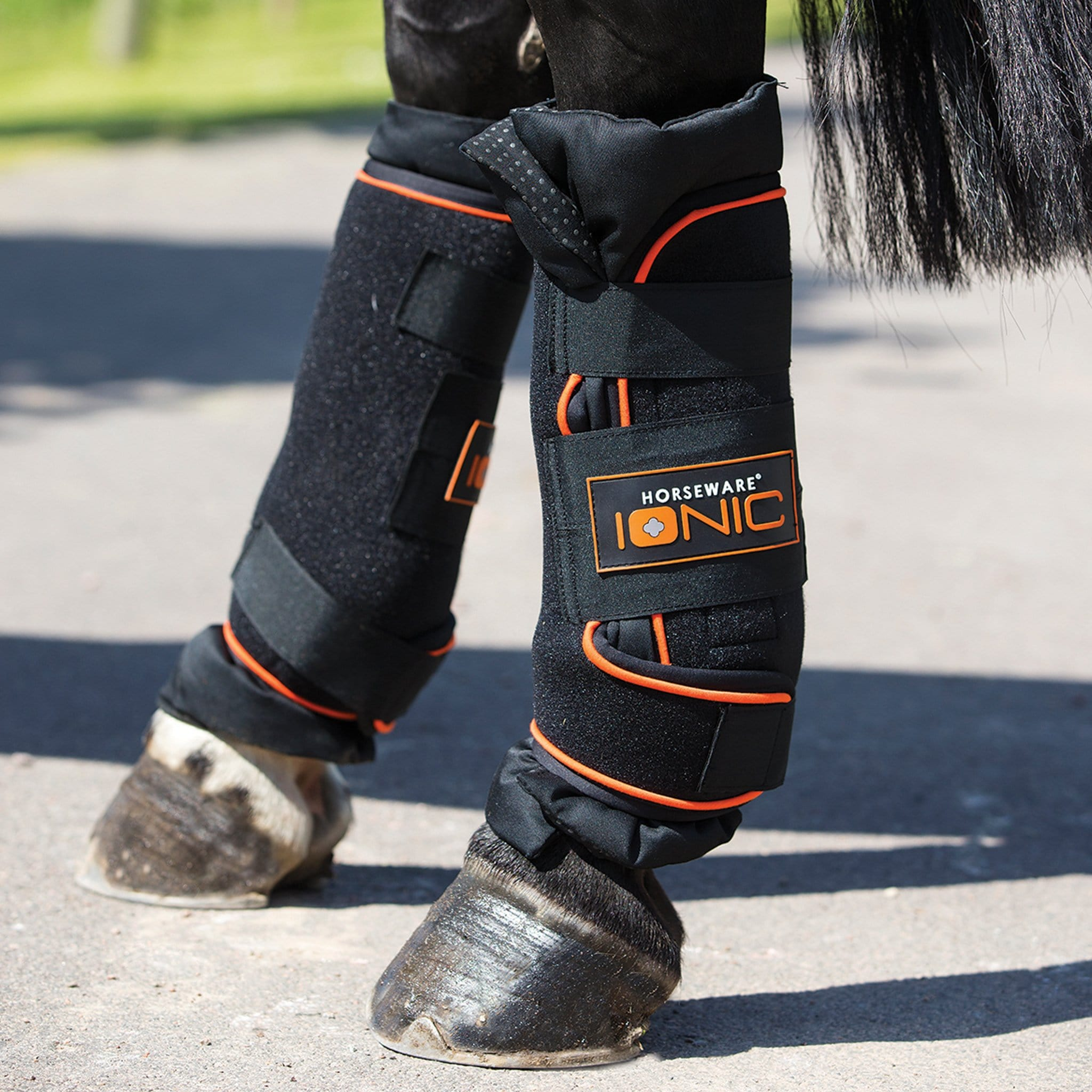 Horseware Rambo Ionic Stable Boots DBJK50 Ionic Tab Black with Orange Stripe