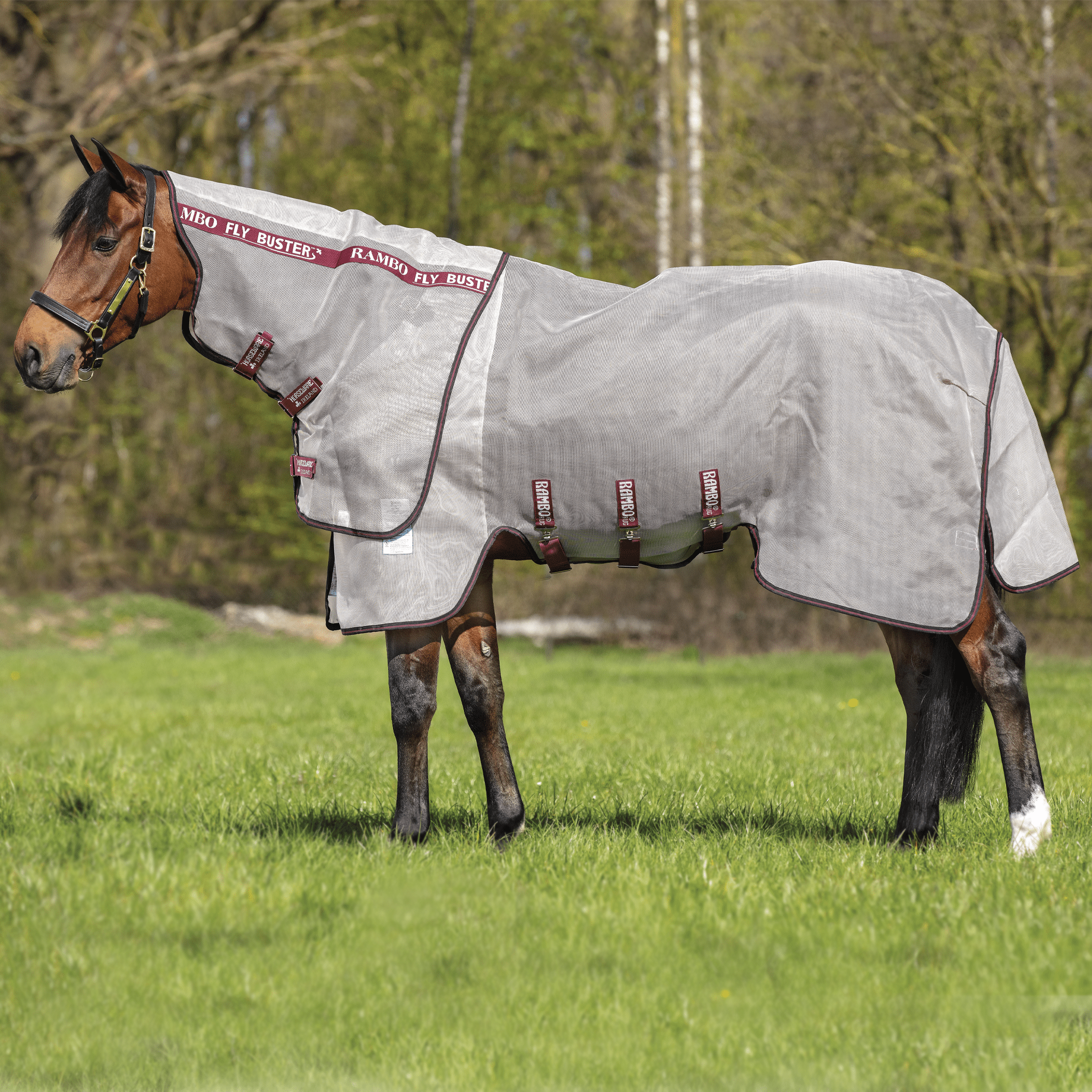 Rambo Vamoose Fly Buster Detachable Neck Fly Rug Oatmeal Burgundy AFAV0V