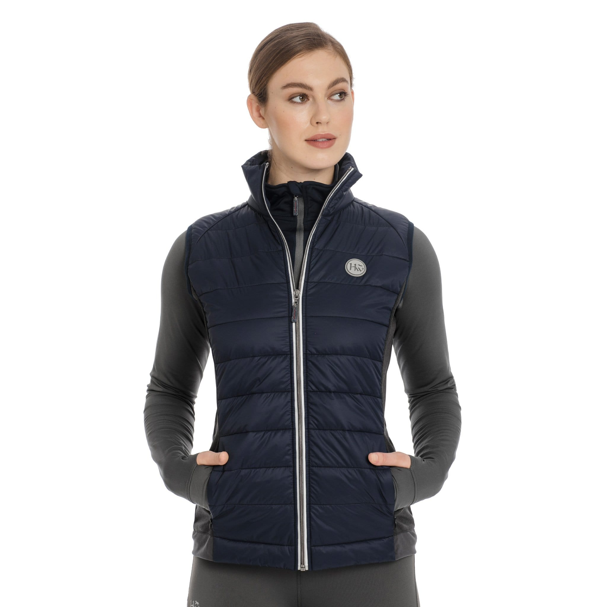 Horseware Winter Hybrid Gilet CBHDTB Navy On Model Front View