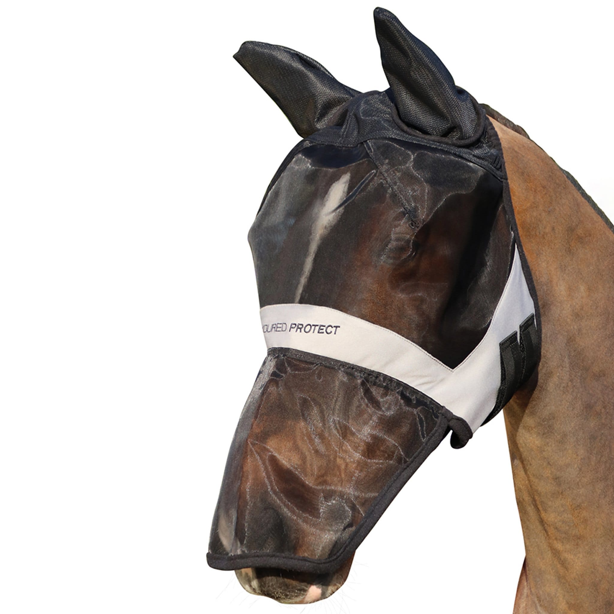 Hy Armoured Protect Full Fly Mask With Ears and Nose 26982 Black and Grey