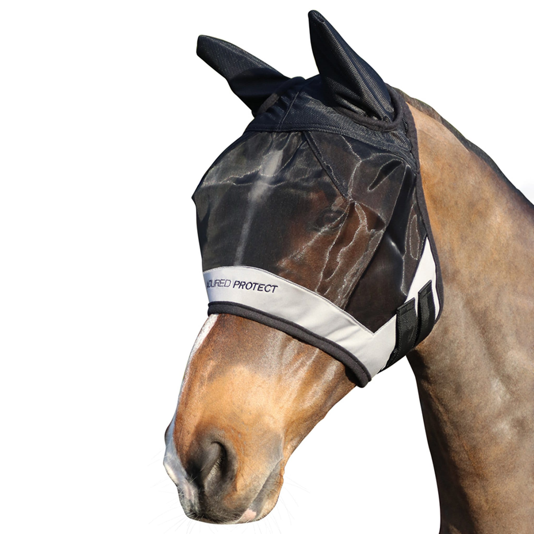 Hy Armoured Protect Half Fly Mask With Ears Black and Grey 26988