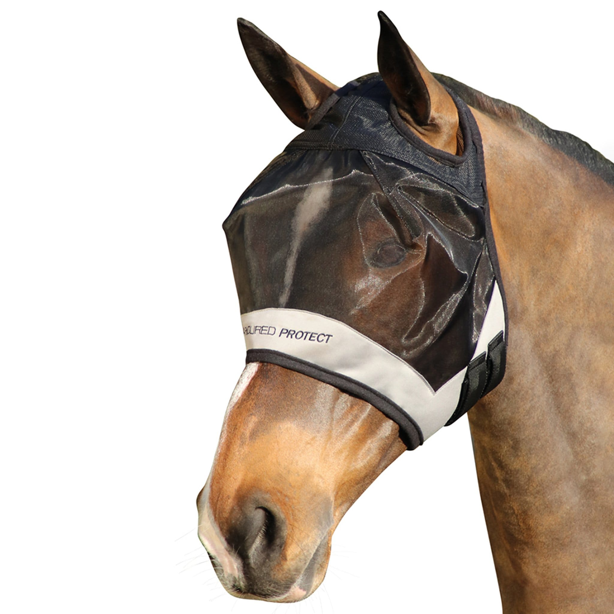 Hy Armoured Protect Half Fly Mask Without Ears or Nose Black and Grey 26994