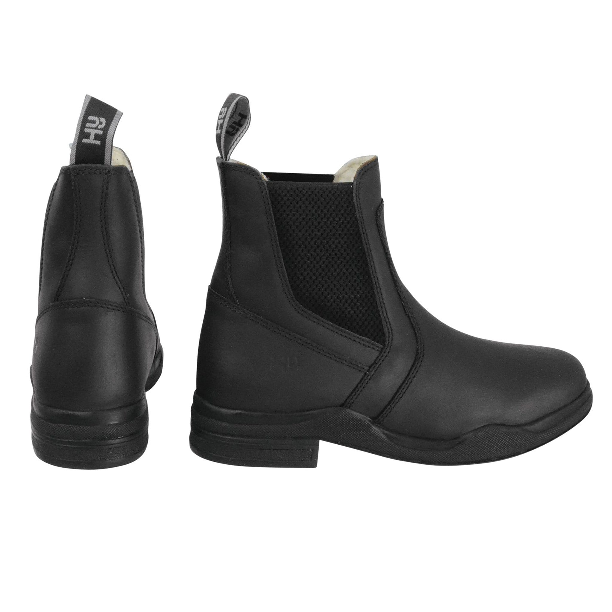 Hy Equestrian Fleece Lined Wax Leather Jodhpur Boots 29942 Black Side and Back View