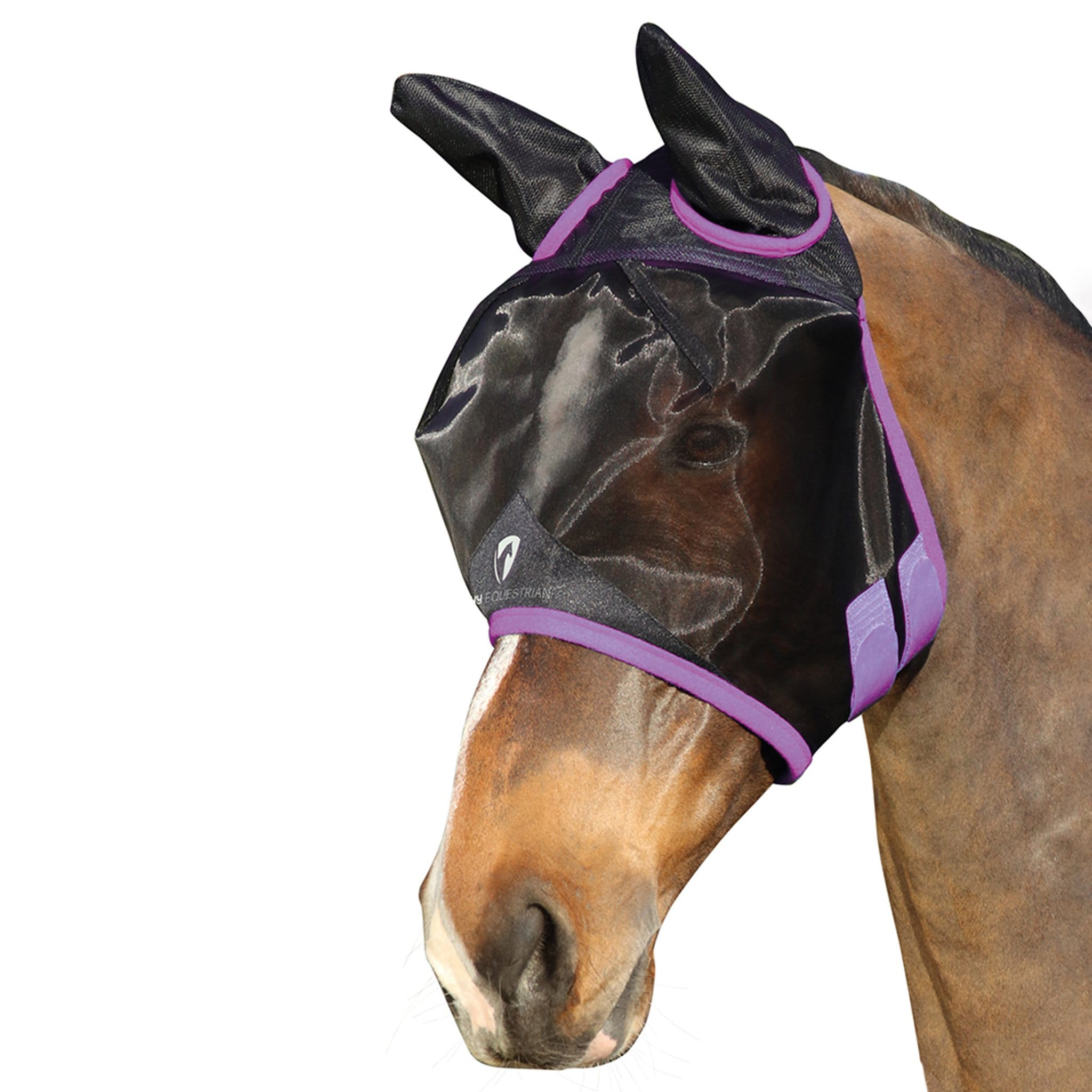 Hy Equestrian Mesh Half Fly Mask With Ears Black and Purple 27220