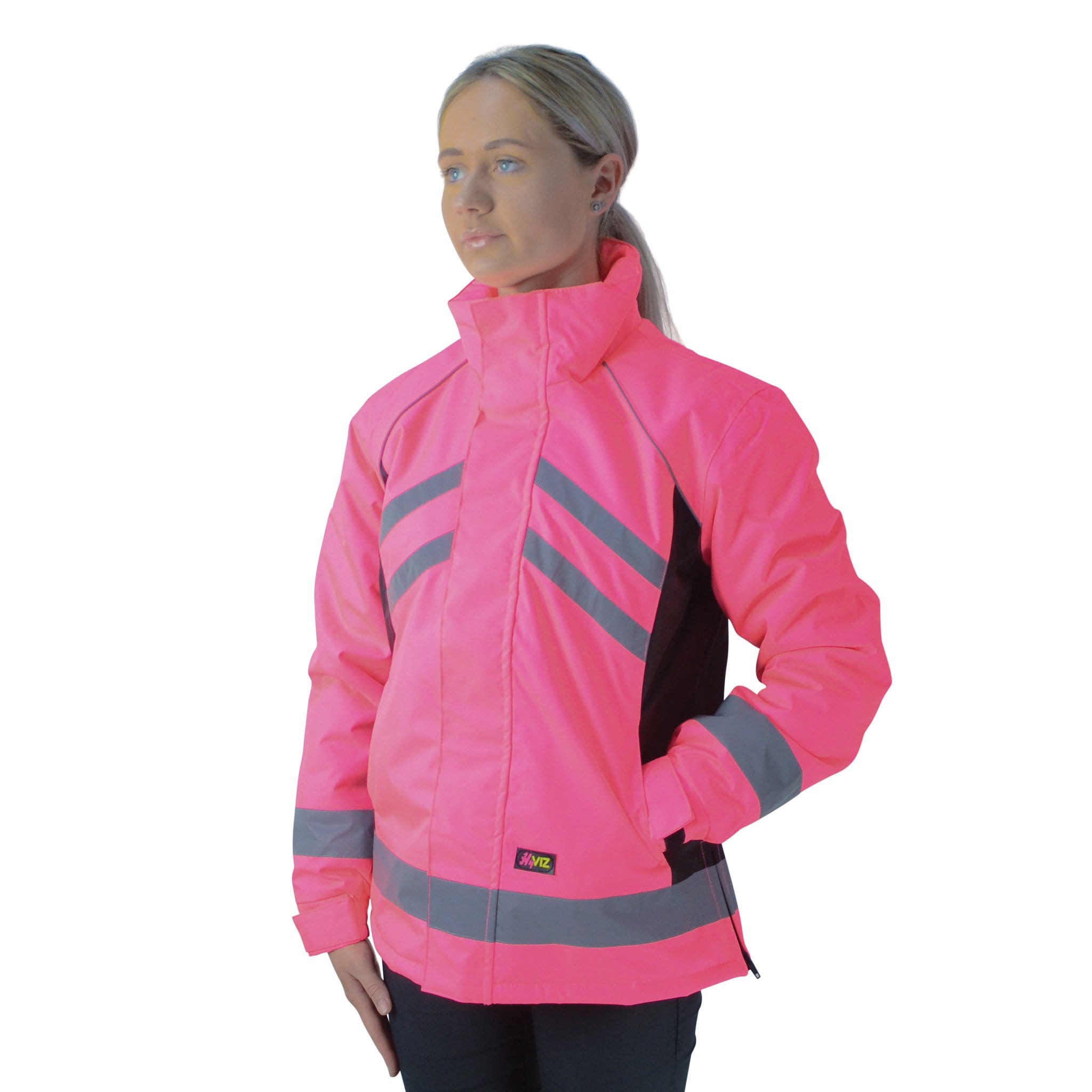 Hy Equestrian Hi Viz Waterproof Riding Jacket 4818 Pink Front View