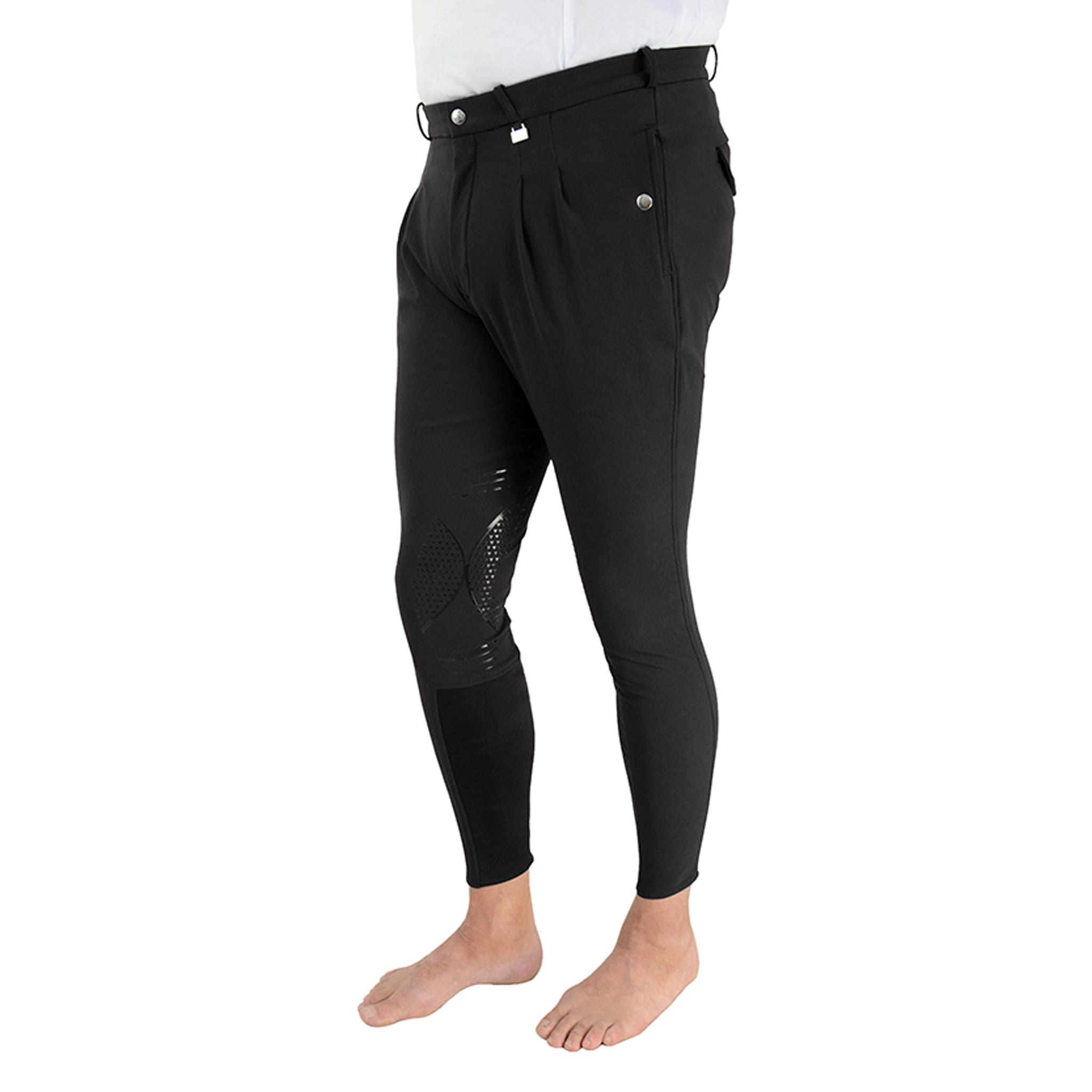 HyPERFORMANCE Men's Harrogate Silicone Knee Patch Breeches 26695 Black Front