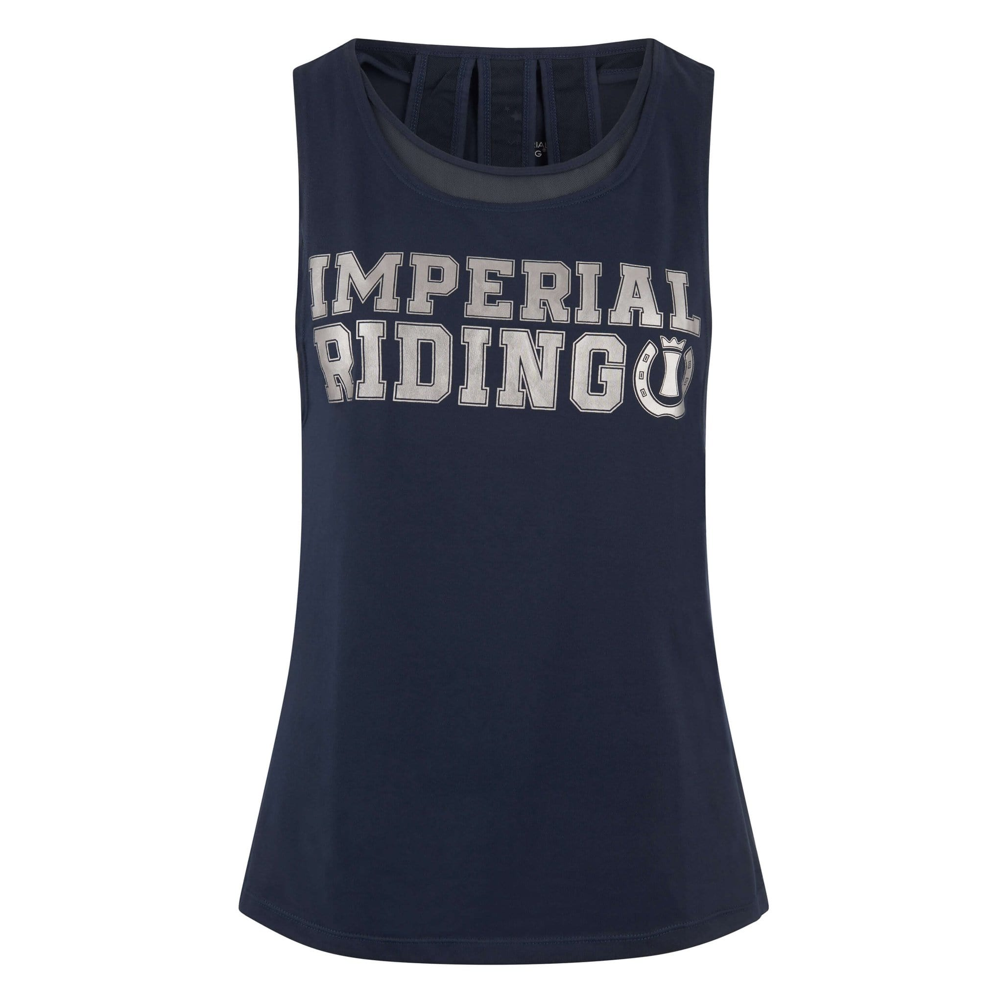 Imperial Riding Brilliant II Sleeveless Riding Top KL35119027 Navy Front With Silver Logo