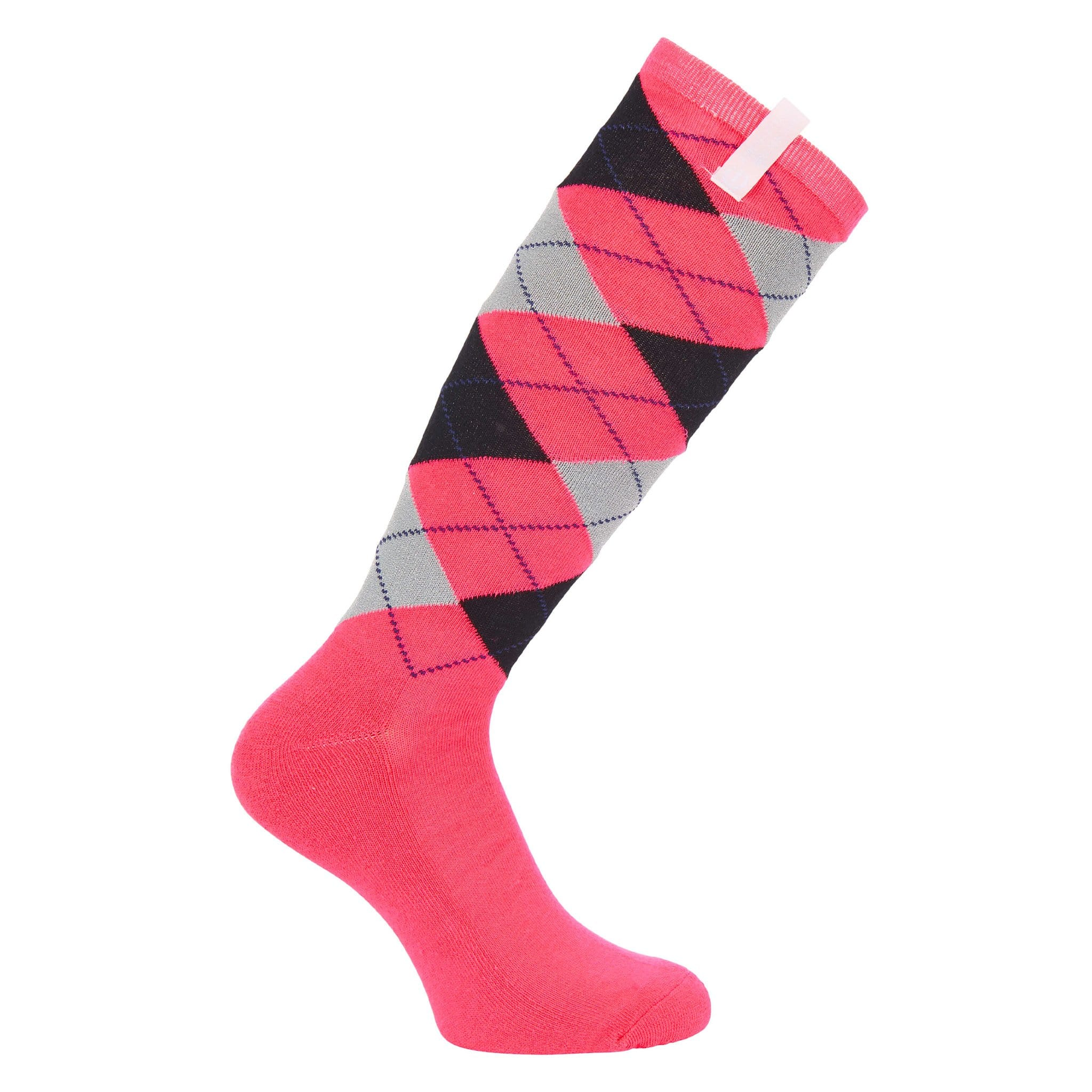 Imperial Riding Simple Riding Socks KL95318000 in Diva Pink Argyle with black and grey