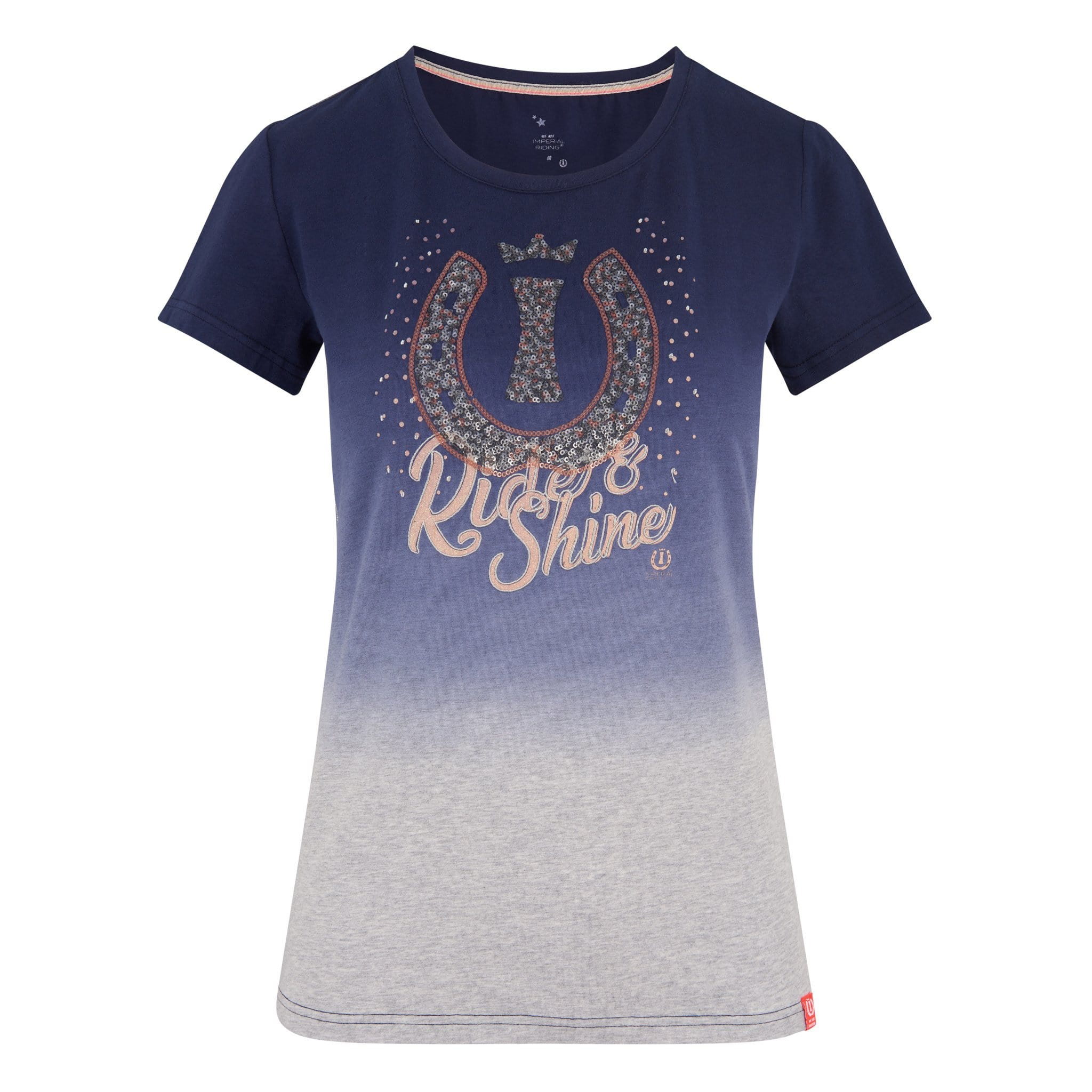 Imperial Riding Sweet Candy Short Sleeve T-Shirt KL35119016 Navy Blue and Grey With Ride and Shine design