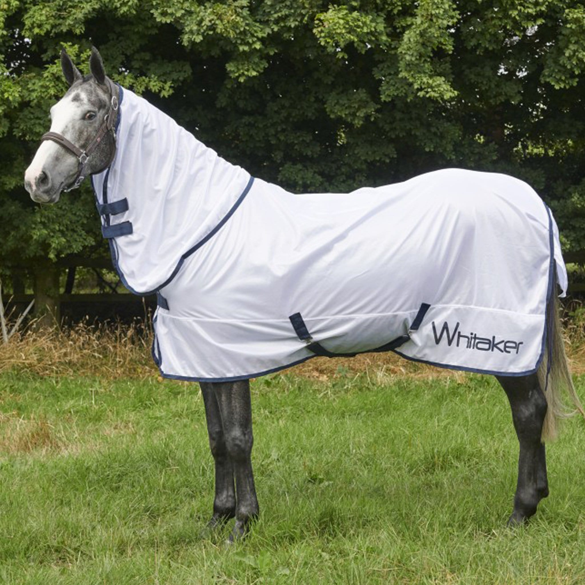 John Whitaker Farnhill Roll-Up Mesh Fly Rug R176 White and Navy