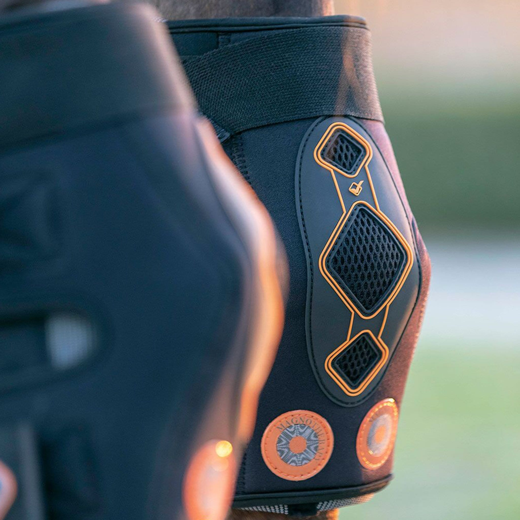 LeMieux Conductive Magnotherapy Hock Boots 6916 Close Up On Horse