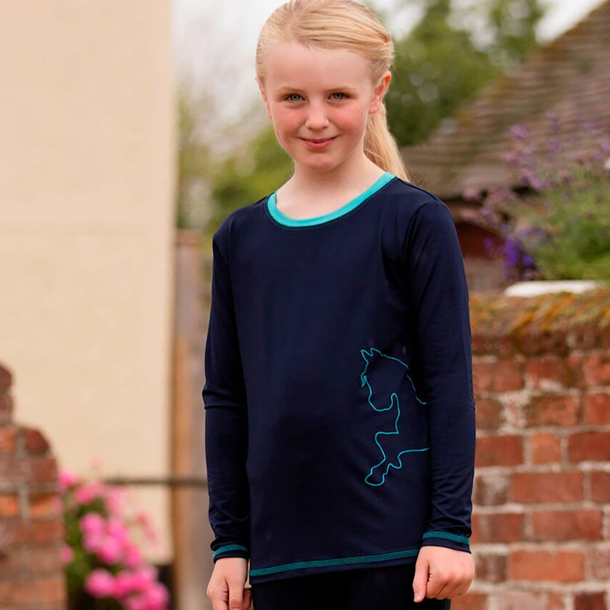 Mark Todd Children's Silicone Print Long Sleeve T-Shirt TOD692195 Navy and Aqua On Child