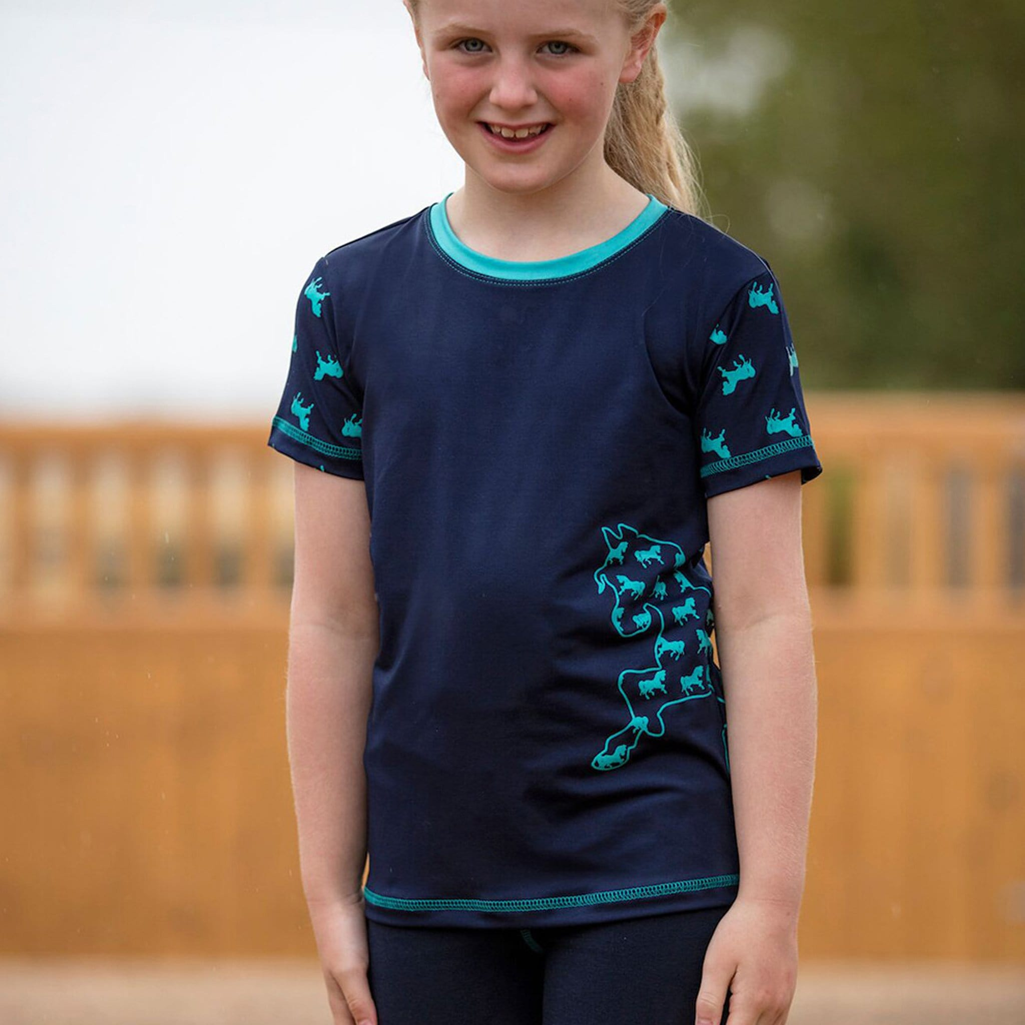 Mark Todd Children's Silicone Print Short Sleeve T-Shirt TOD603454 Navy and Aqua On Child Front