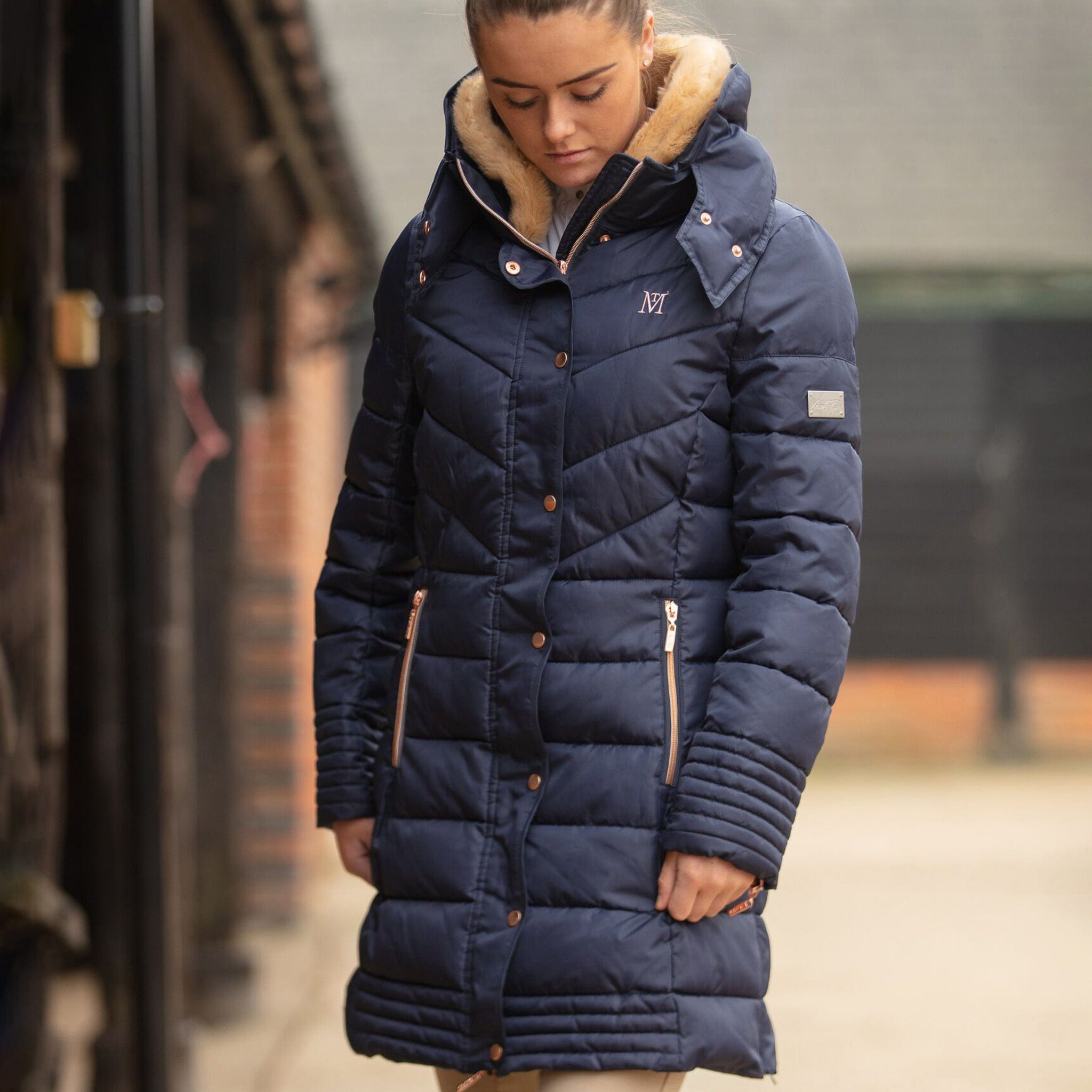 Mark Todd Deluxe Long Padded Coat TOD692100 Navy On Model