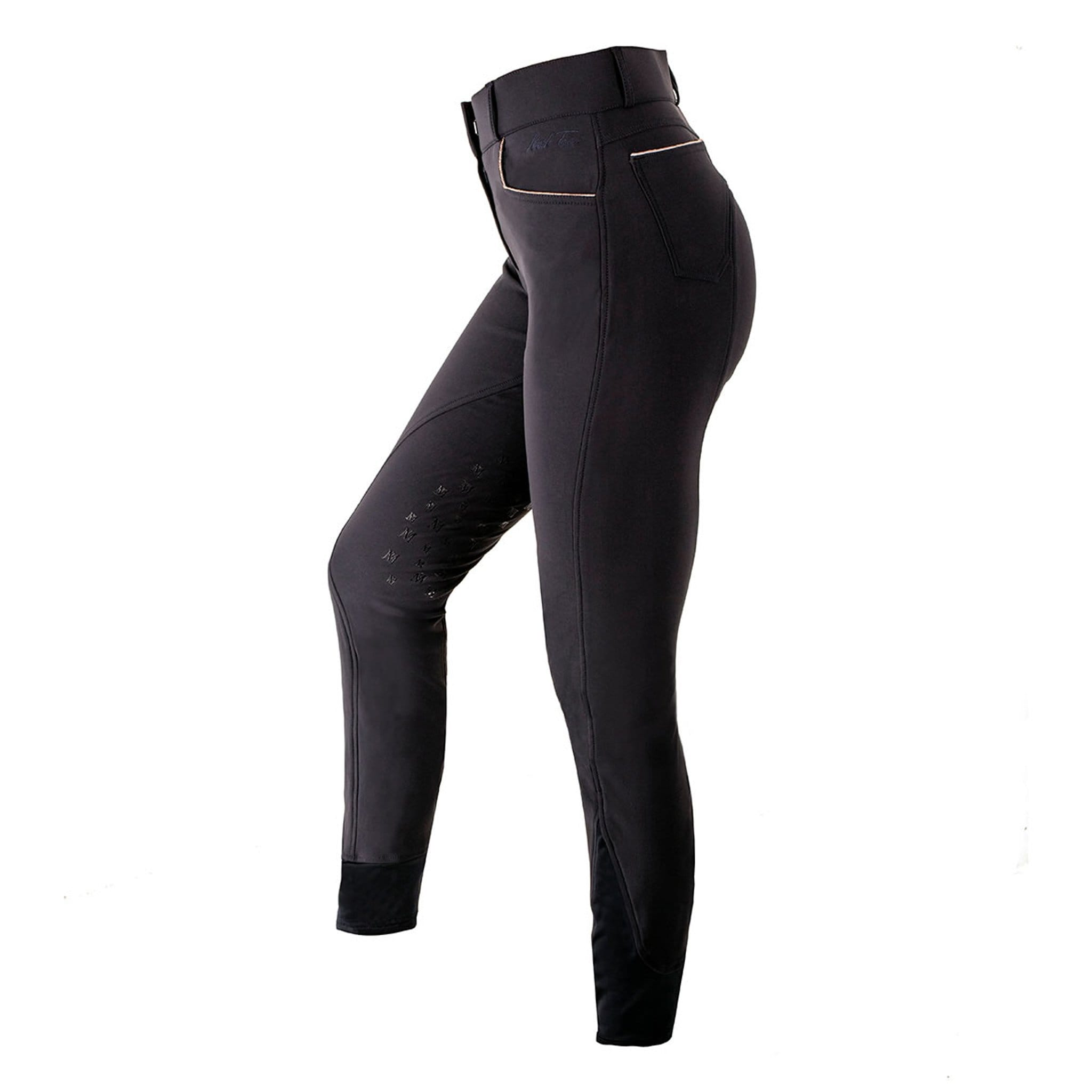 Mark Todd Limited Edition Marceline Silicone Knee Patch Breeches TOD603619 Navy and Rose Gold Side