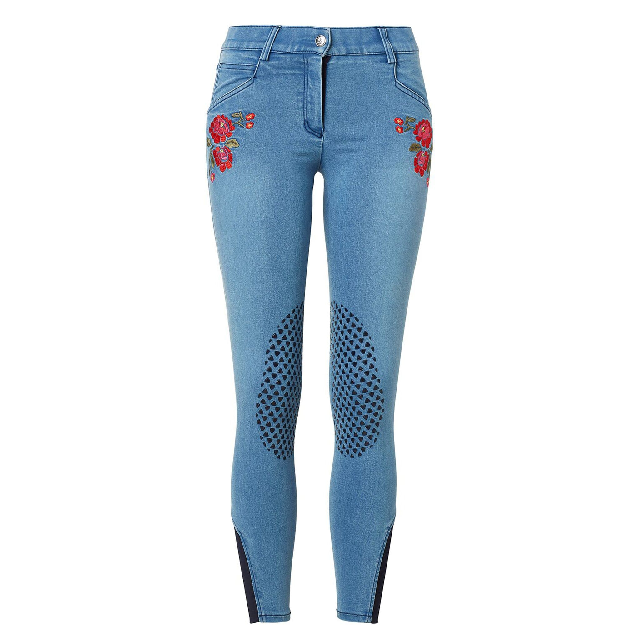 Mountain Horse Blossom Denim Silicone Knee Patch Breeches 05298 Front