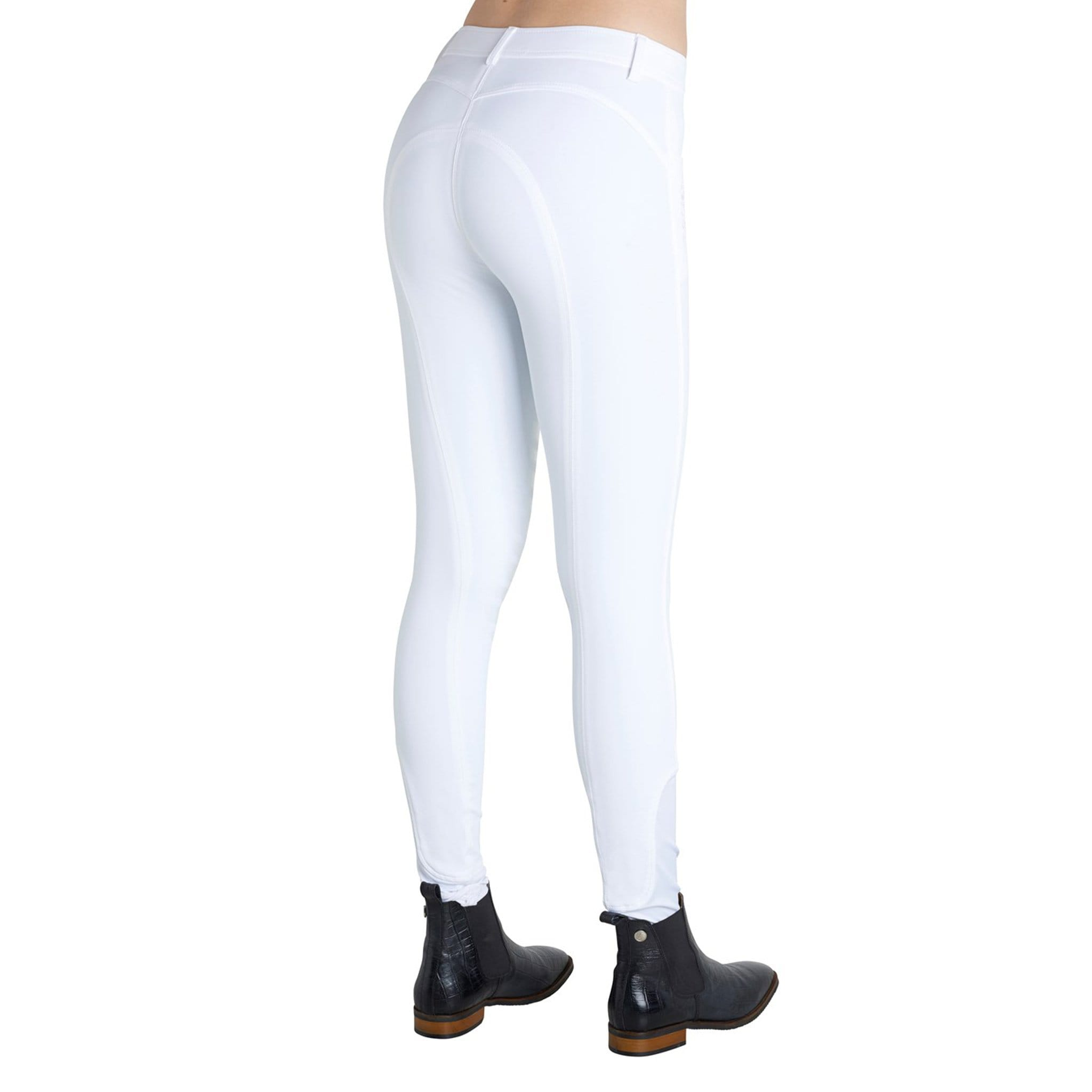 Montar Normal Waist Silicone Knee Patch Breeches 2077 White On Model