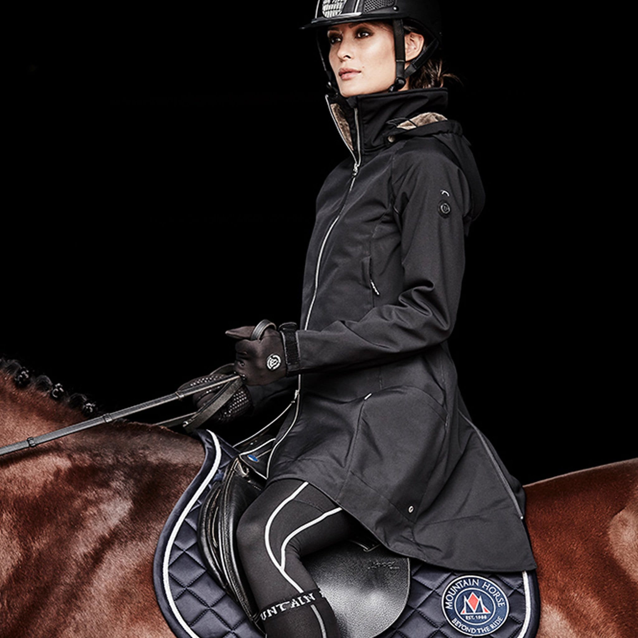Mountain Horse Stella Softshell Parka Coat 03325 Black On Model Riding Left Side Front Close Up