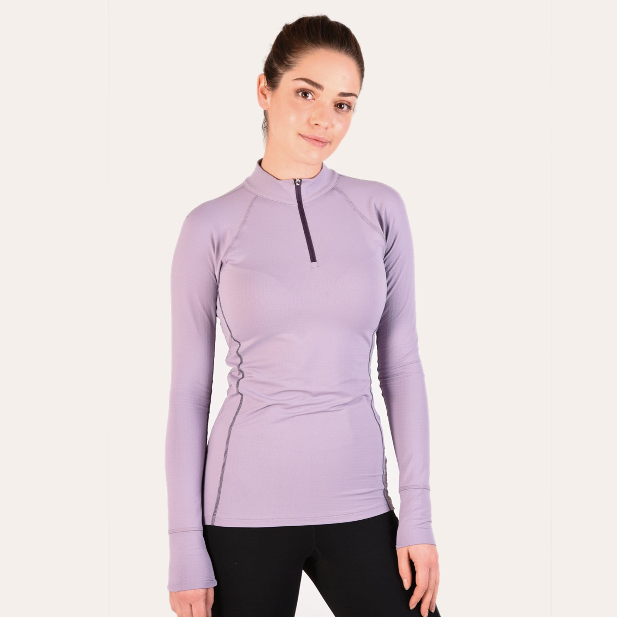 Noble Equestrian Ashley Long Sleeved Riding Top On Model Purple Ash Front 21505