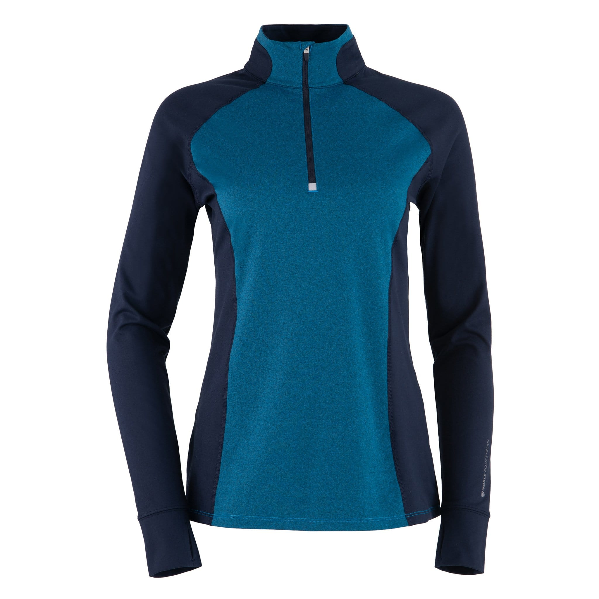 Noble Equestrian Athena Quarter Zip Riding Top Brilliant Blue Front 21520