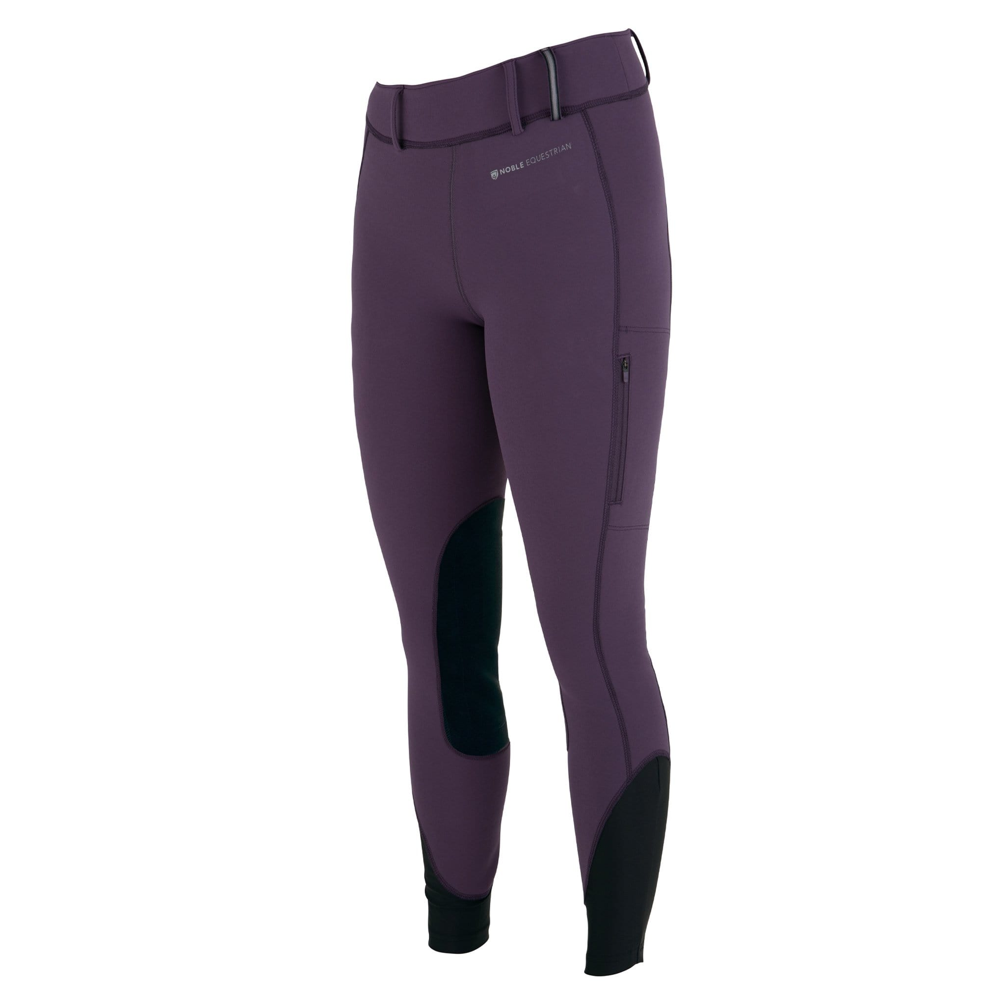 Noble Equestrian Balance Softshell Silicone Knee Patch Riding Tights Grape Royale Front 24027