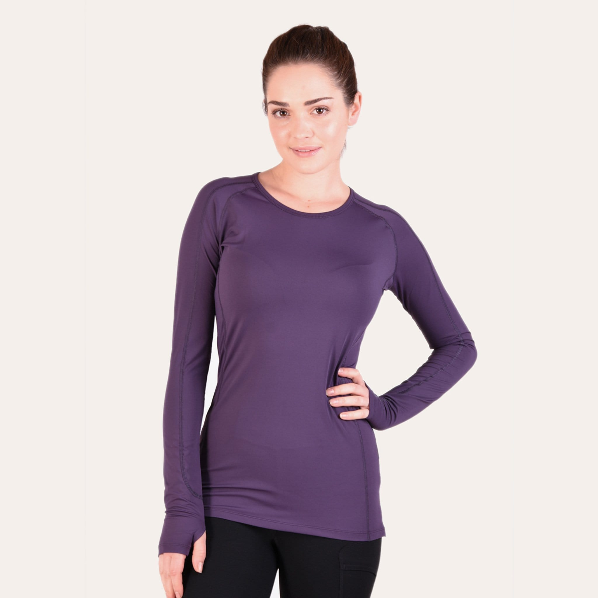 Noble Equestrian Hailey Long Sleeved Crew Riding Top On Model Front Grape Royale 21506