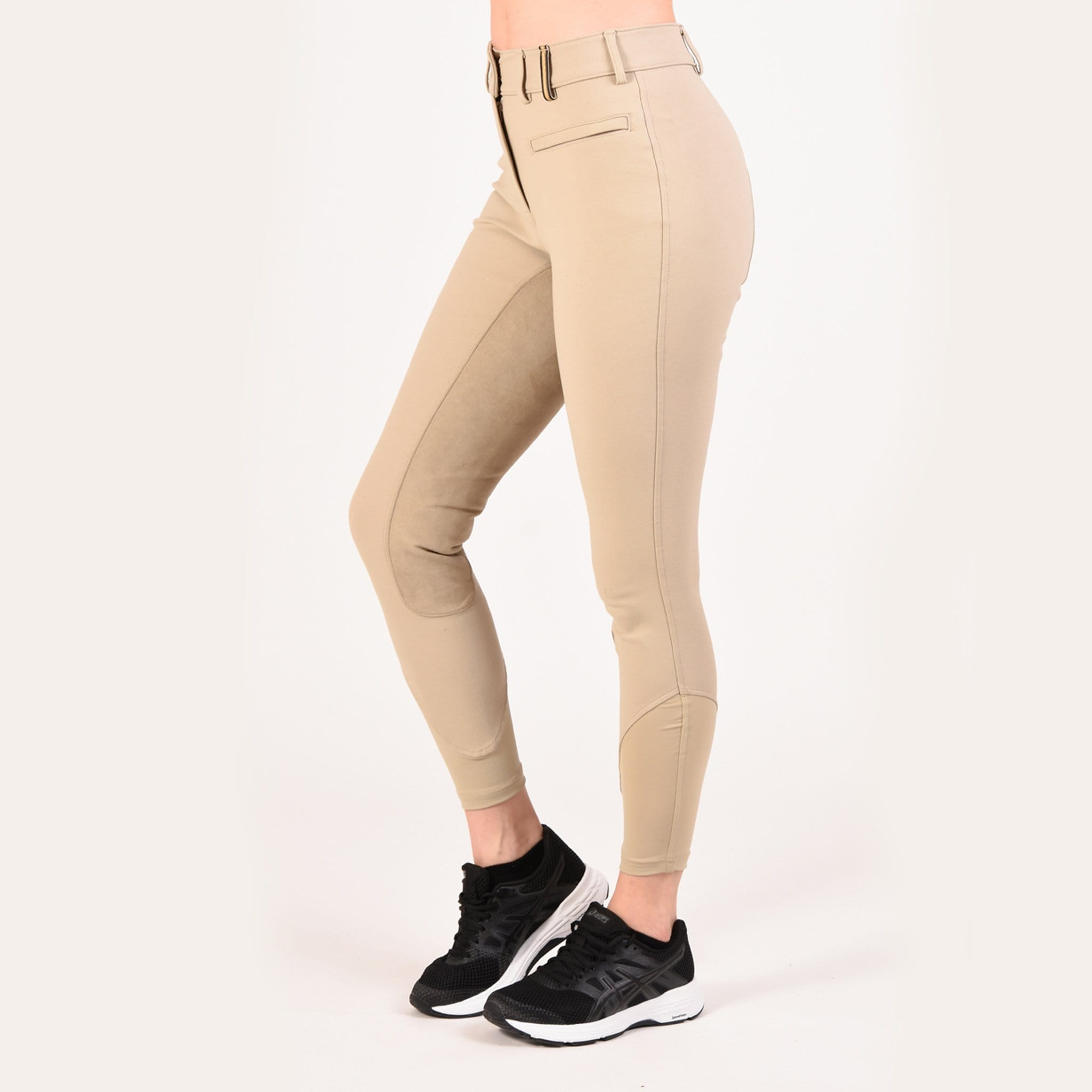 Noble Equestrian Signature Alos Full Seat Breeches Tan On Model Side 24006