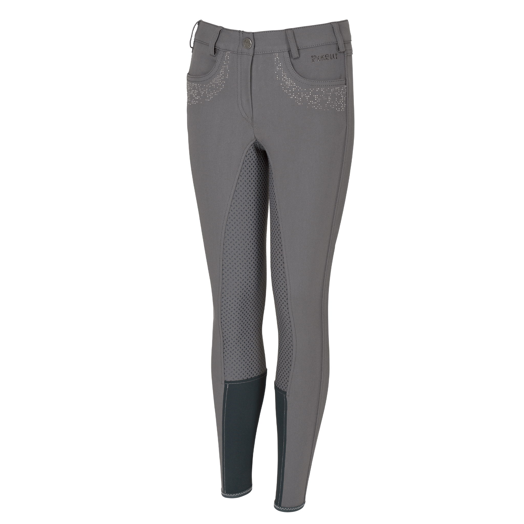 Pikeur Girl's Kalotta Grip Full Seat Breeches Grey Front 148036