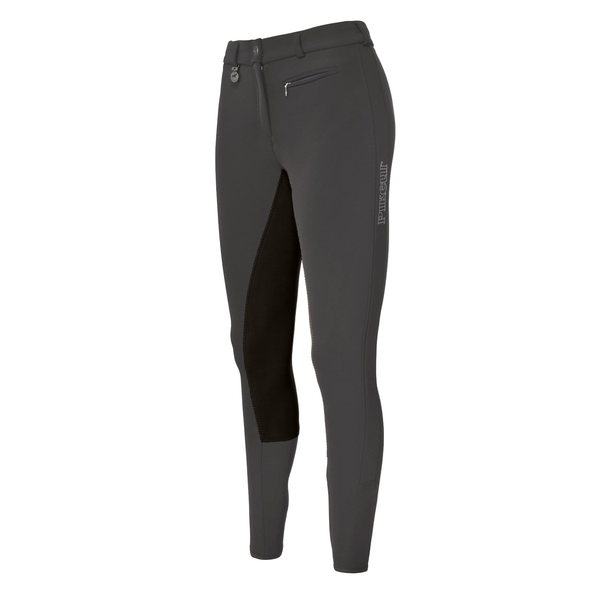 Pikeur Lucinda Softshell Contrast Alos Full Seat Breeches 140067 Anthracite Front