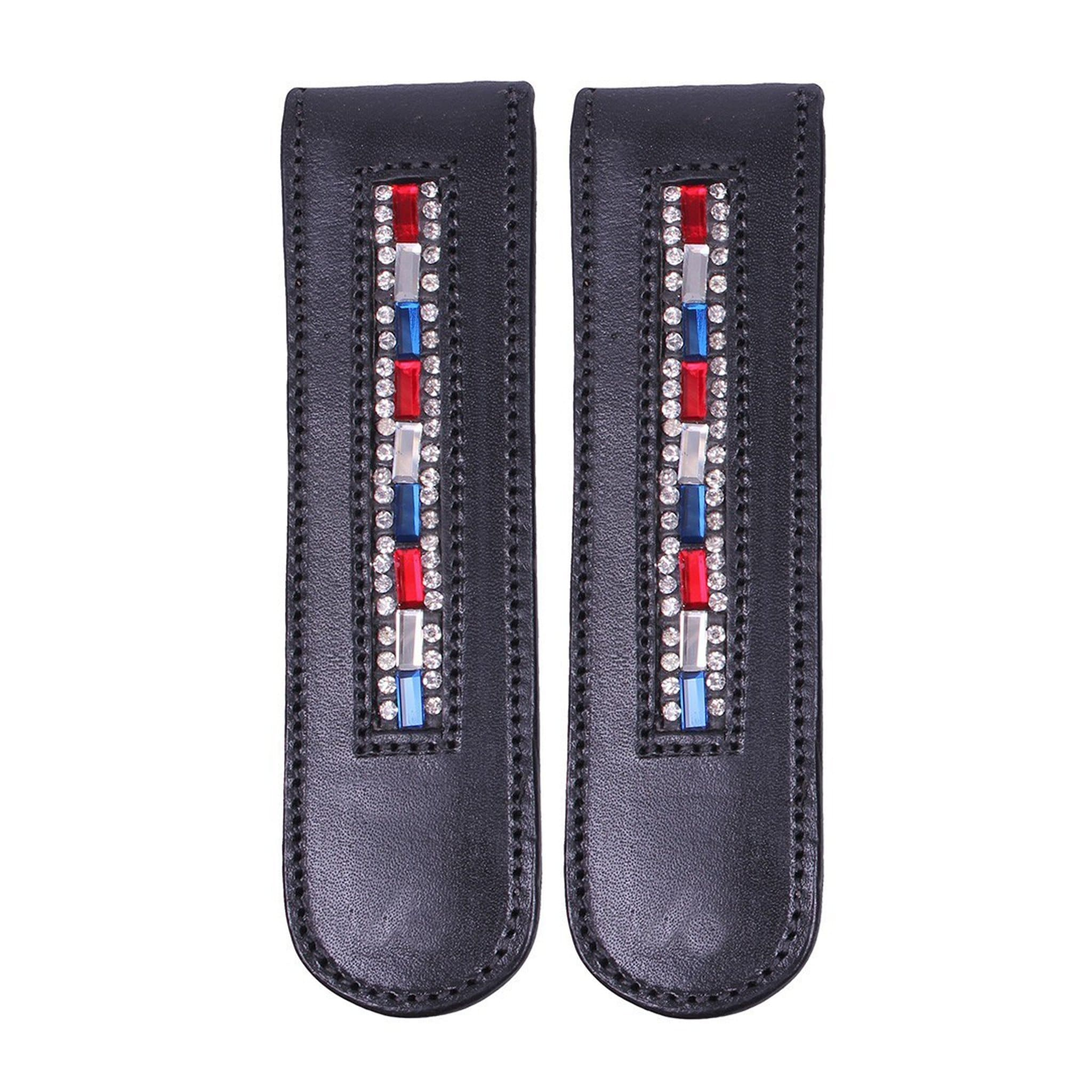 QHP Brittany Boot Clip 7138 Pair Blue Red Silver