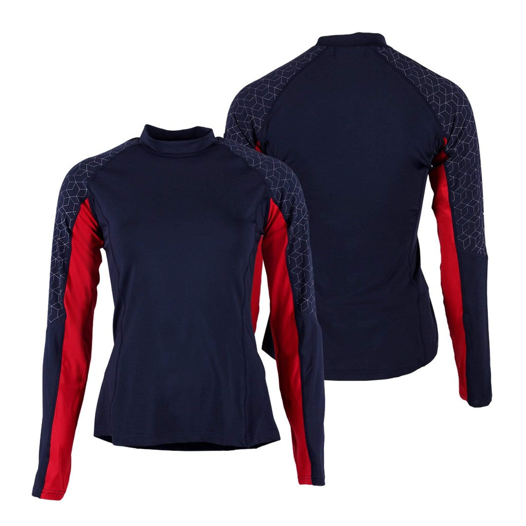 QHP Children's Eldorado Contrast Base Layer 8314 Navy and Red Front and Back