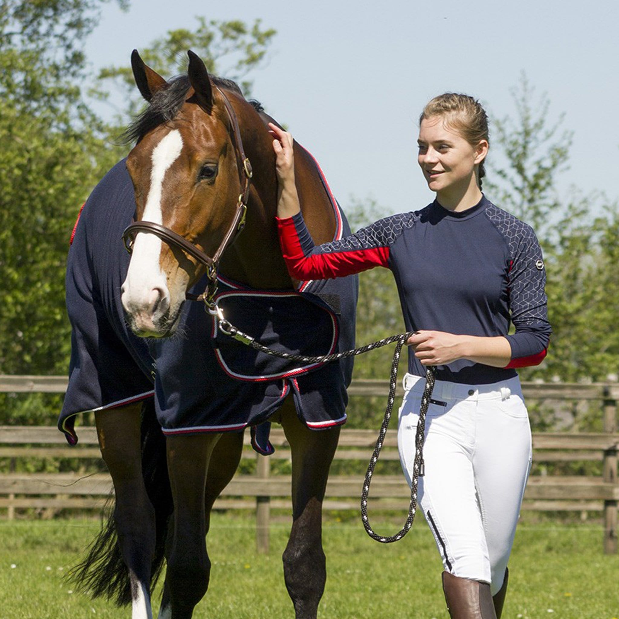 QHP Eldorado Base Layer 8313 Navy and Red On Model Leading Horse