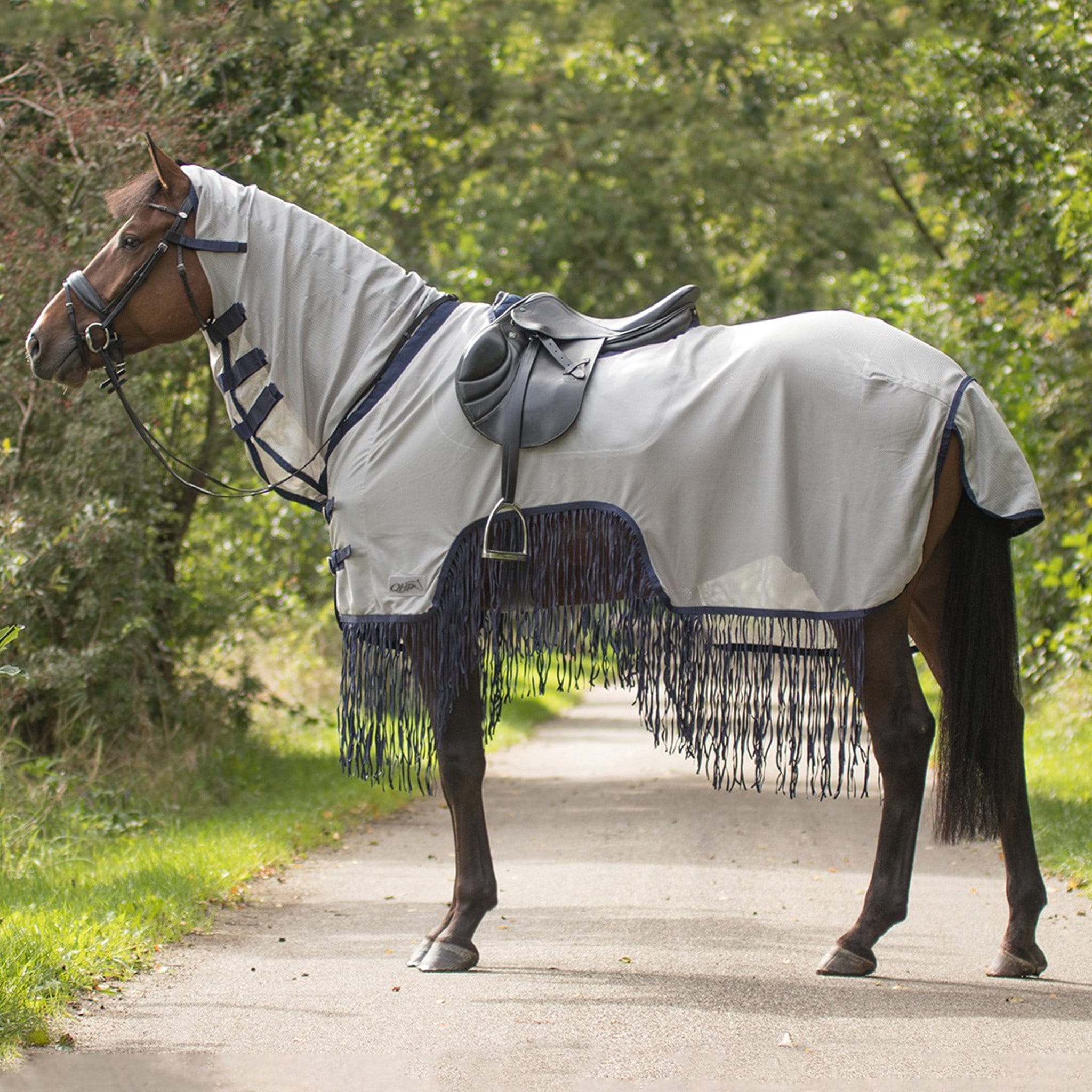 QHP Fringed Exercise Combo Fly Rug Grey and Navy 6261