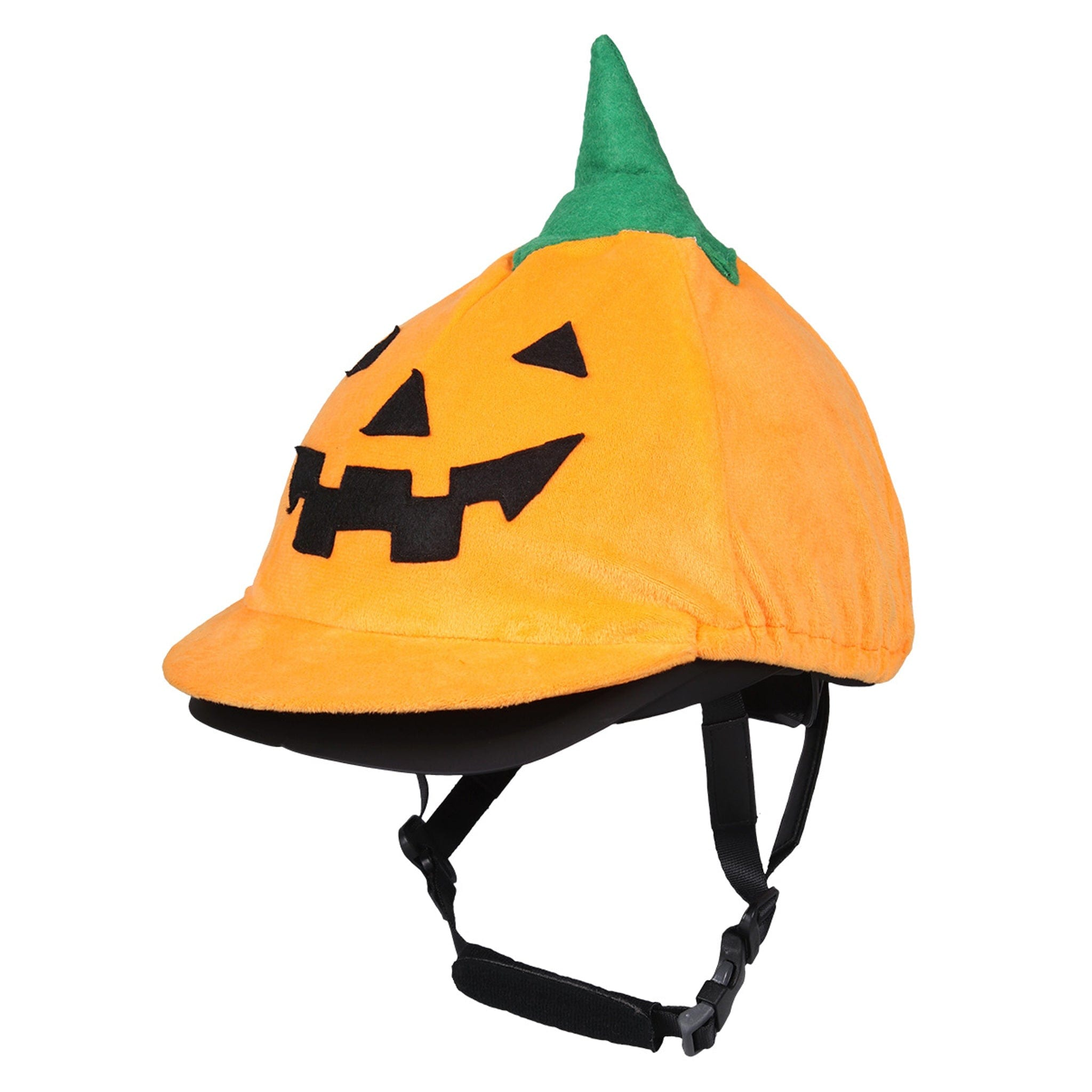 QHP Halloween Helmet Cover 8548 Orange Pumpkin Fleece Hat Silk