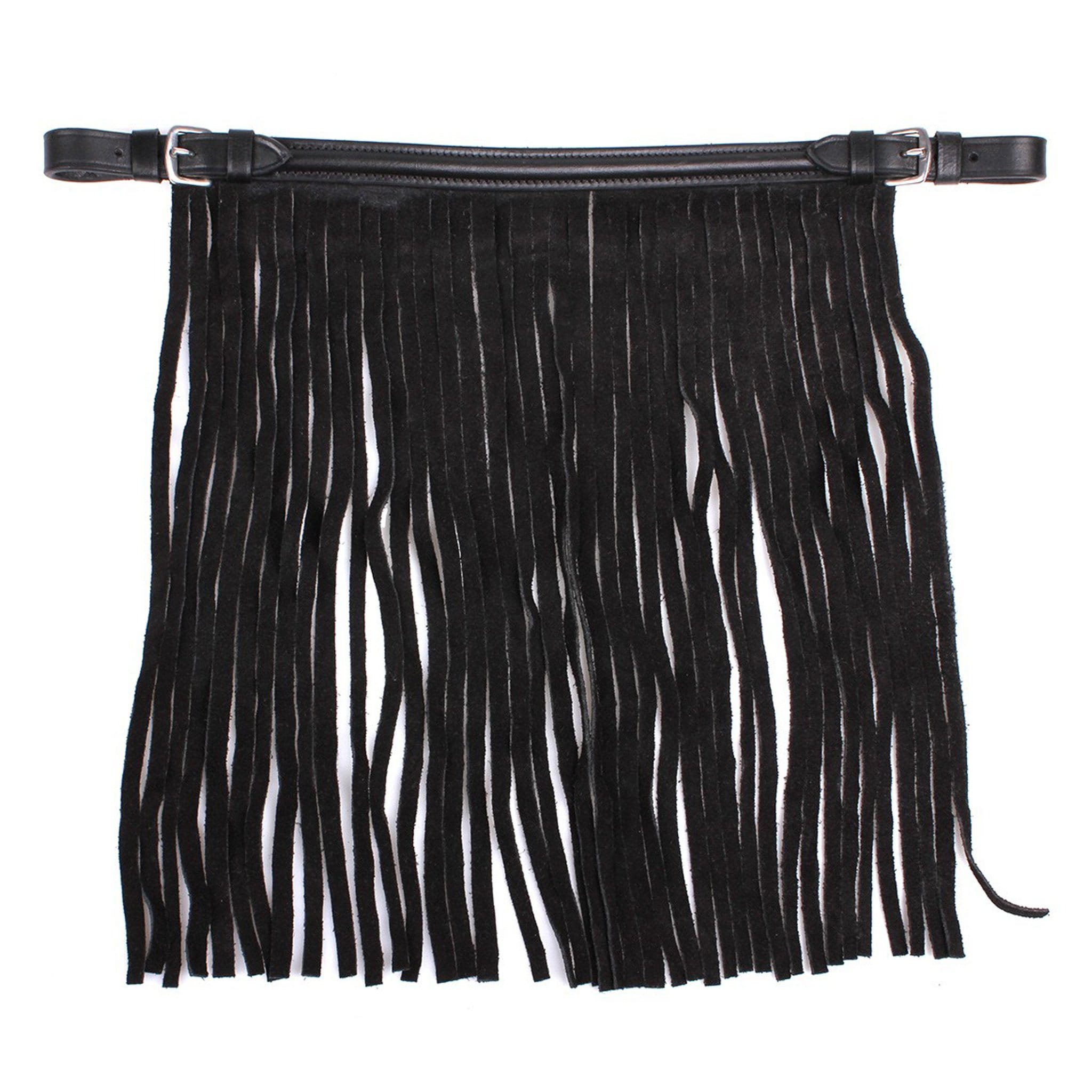 QHP Leather Fly Fringe 5228 Black Outside
