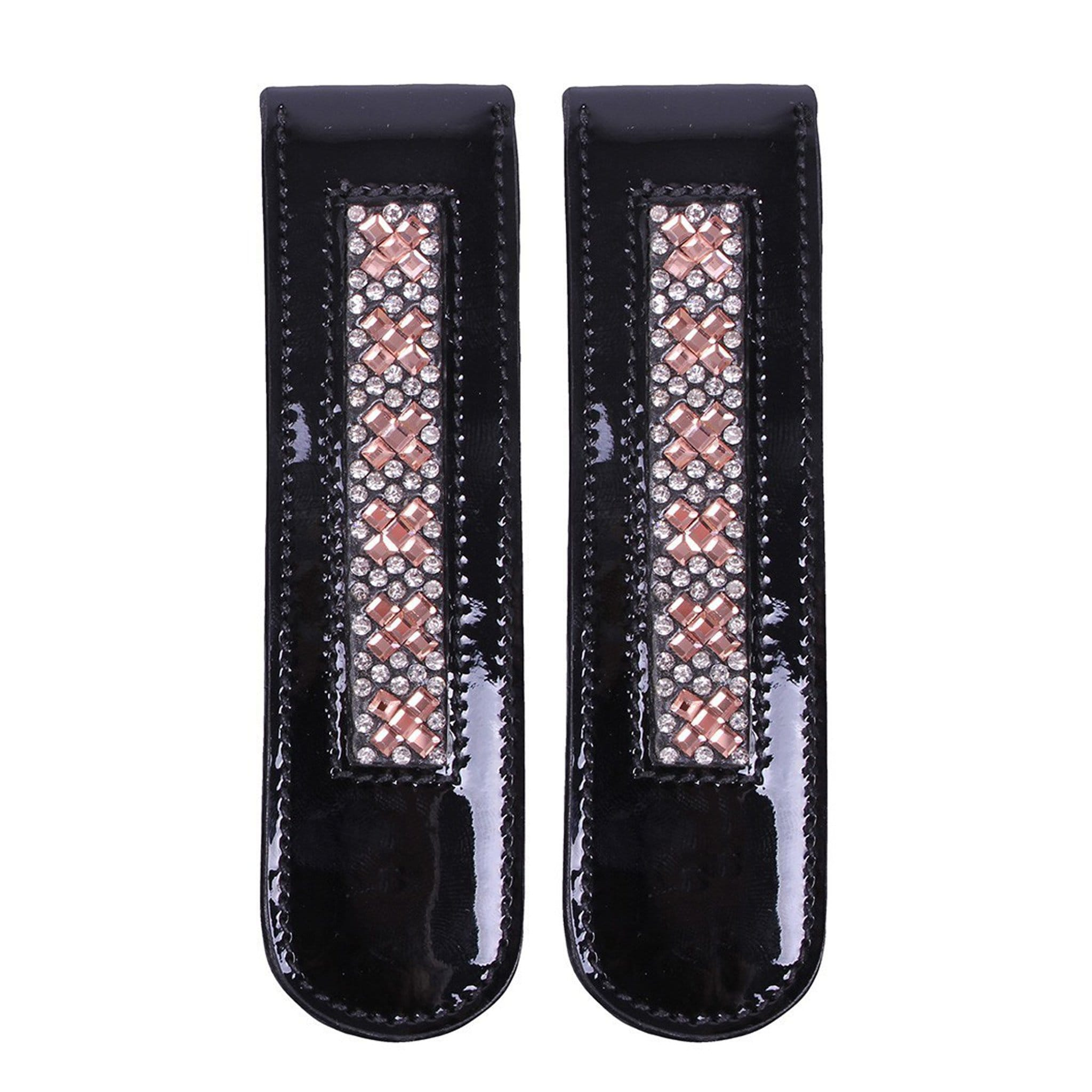 QHP Macey Boot Clip 7135 Black, Silver and Pink, Pair