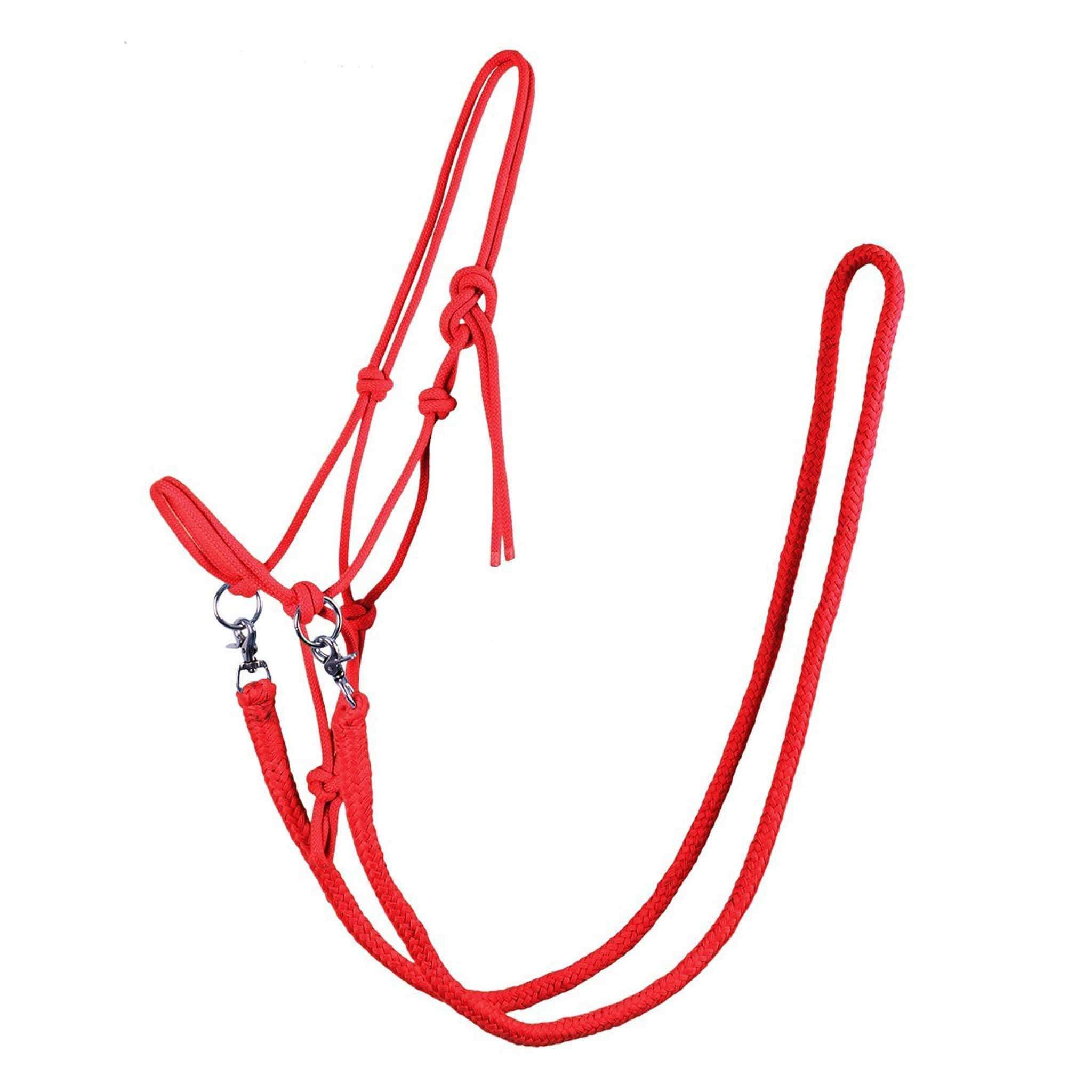 QHP Rope Halter With Reins 1085 Bright Red