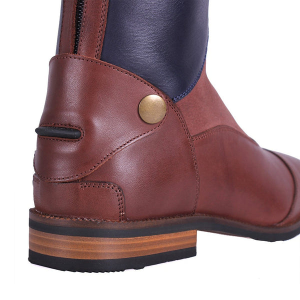 QHP Shiva Riding Boots Navy & Brown Heel and Spur Rest Detail
