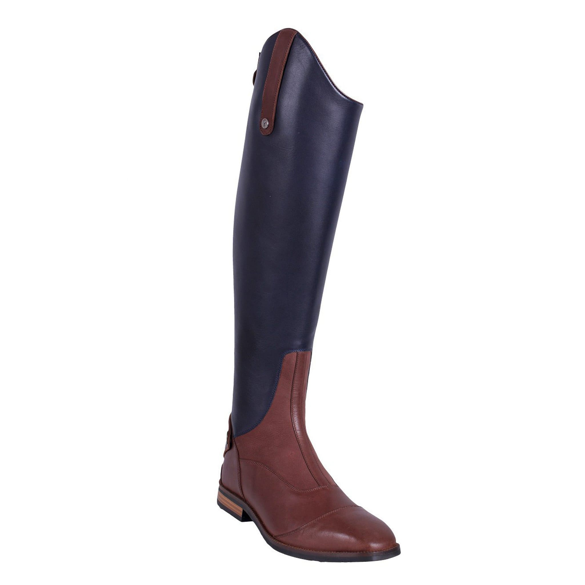 QHP Shiva Riding Boots Navy & Brown Front Outside