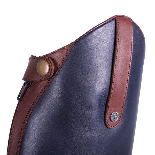 QHP Shiva Riding Boots Navy & Brown Front Outside Bow And Zip Detail